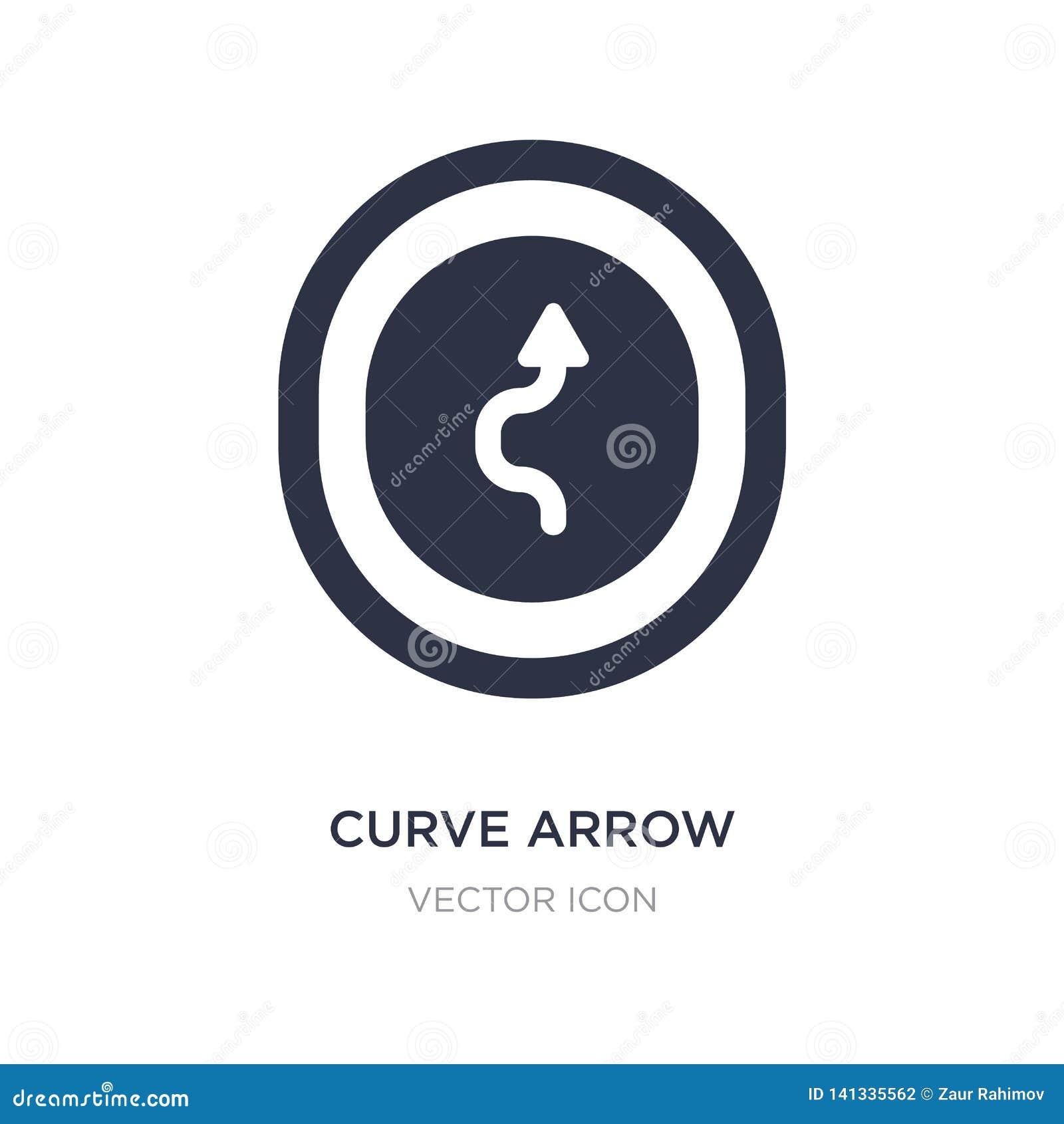 ícone da seta da curva no fundo branco Ilustração simples do elemento do conceito de UI