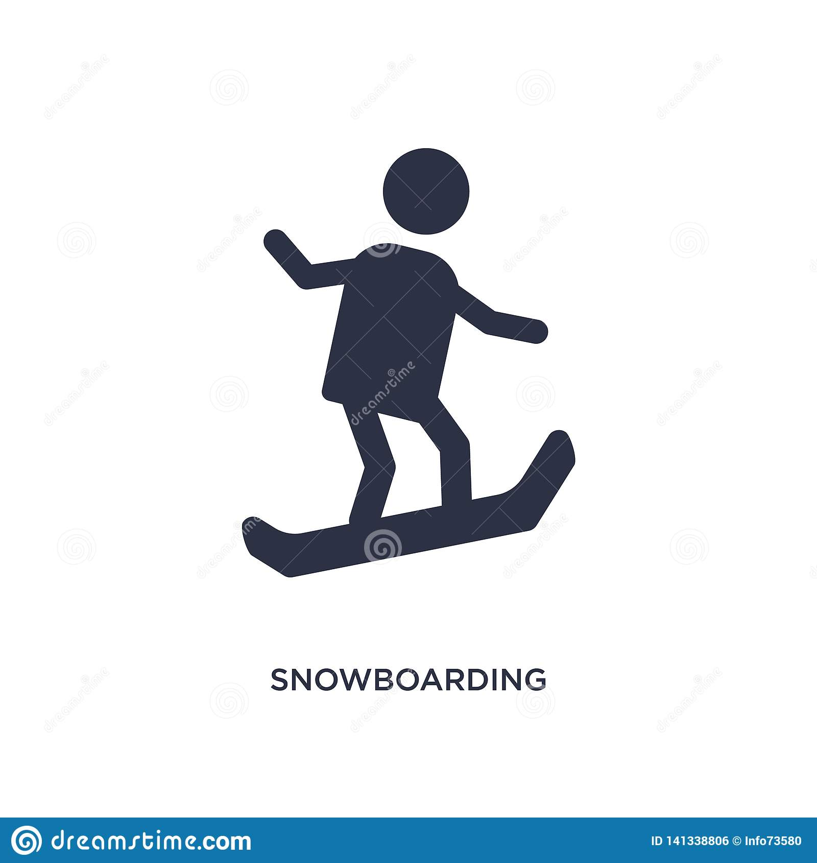 ícone da snowboarding no fundo branco Ilustração simples do elemento do conceito do tempo livre