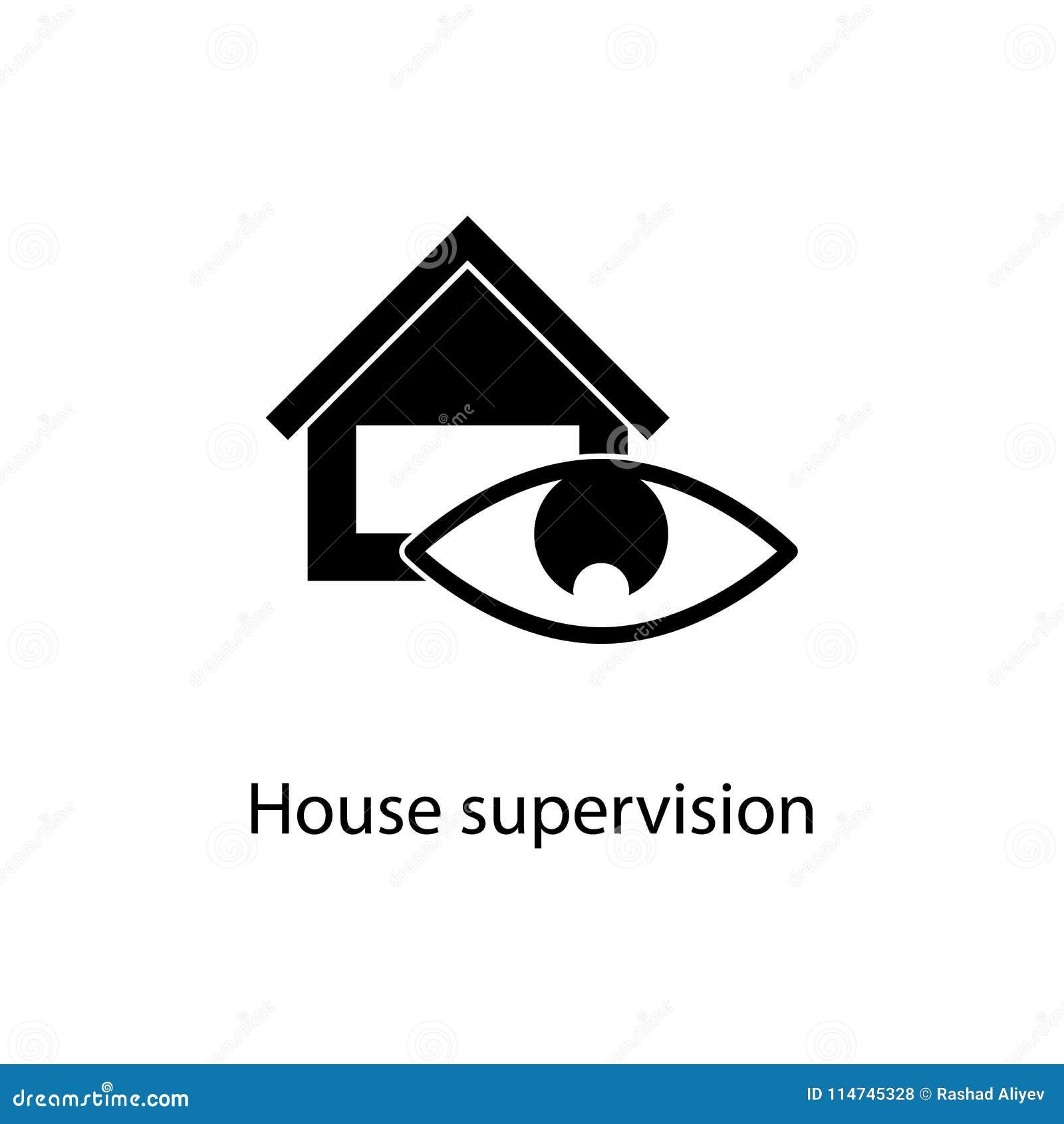 ícone da supervisão da casa Elemento do ícone minimalistic para apps móveis do conceito e da Web Sinais e ícone da coleção dos sí