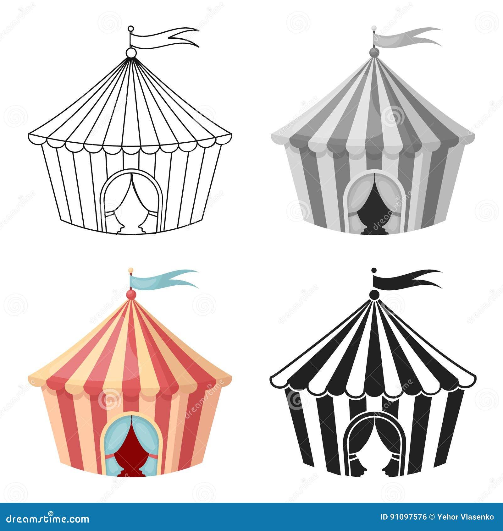 Icone Da Tenda Do Circus No Estilo Dos Desenhos Animados Isolado