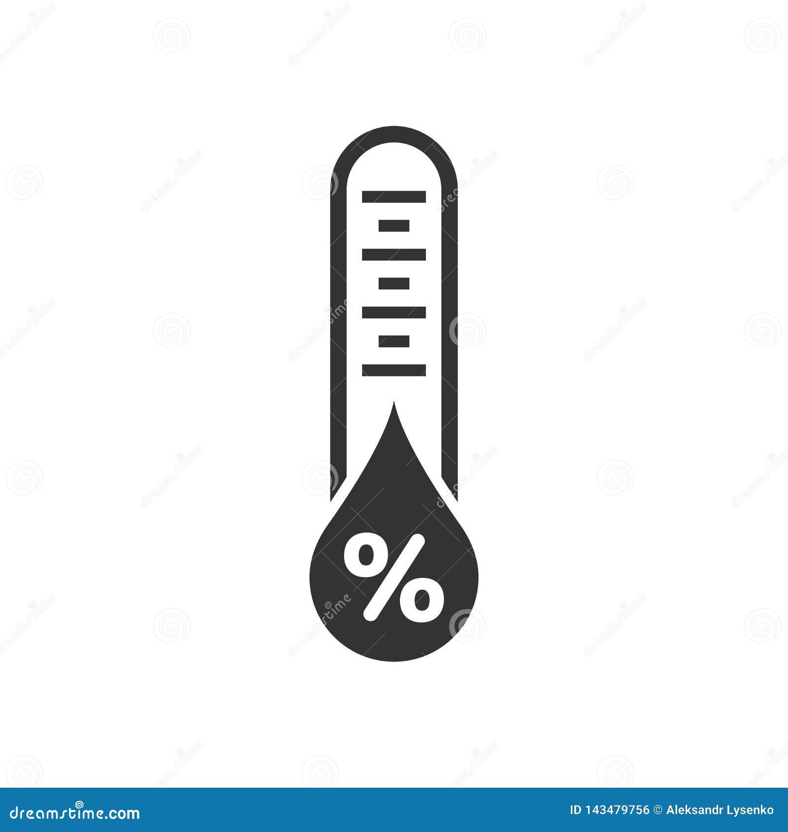 Ícone da umidade no estilo liso Ilustração do vetor do clima no fundo isolado branco Conceito do negócio da previsão da temperatu