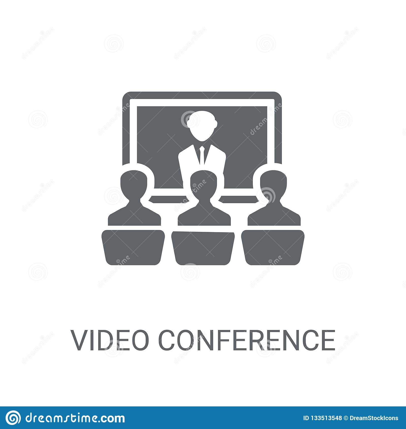 Ícone da videoconferência Conceito na moda do logotipo da videoconferência em w