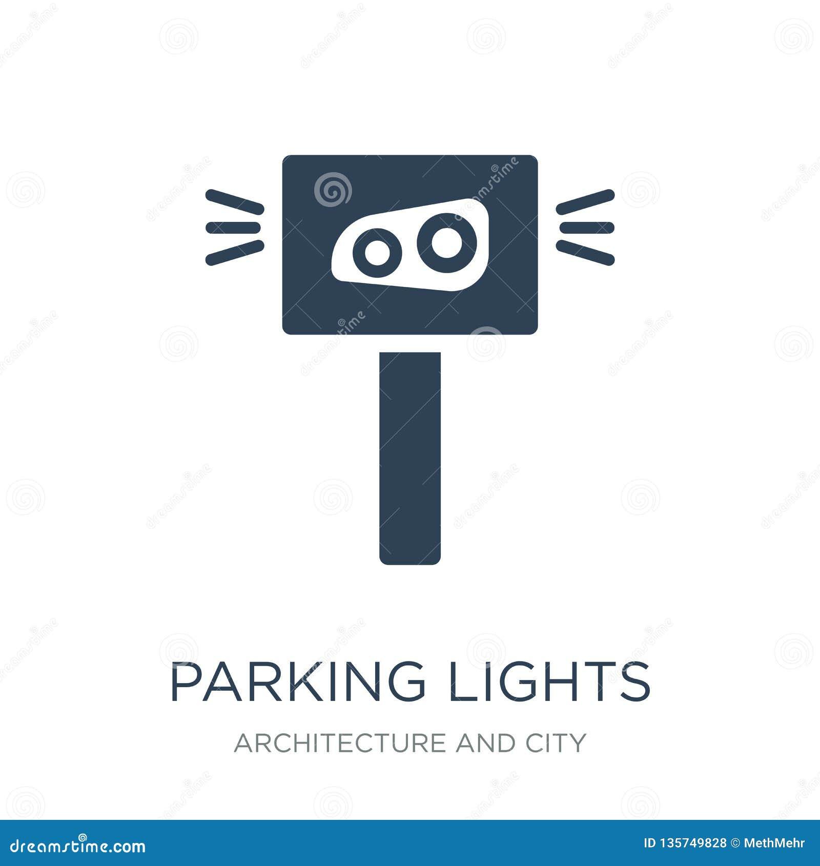 ícone das luzes de estacionamento no estilo na moda do projeto ícone das luzes de estacionamento isolado no fundo branco ícone do
