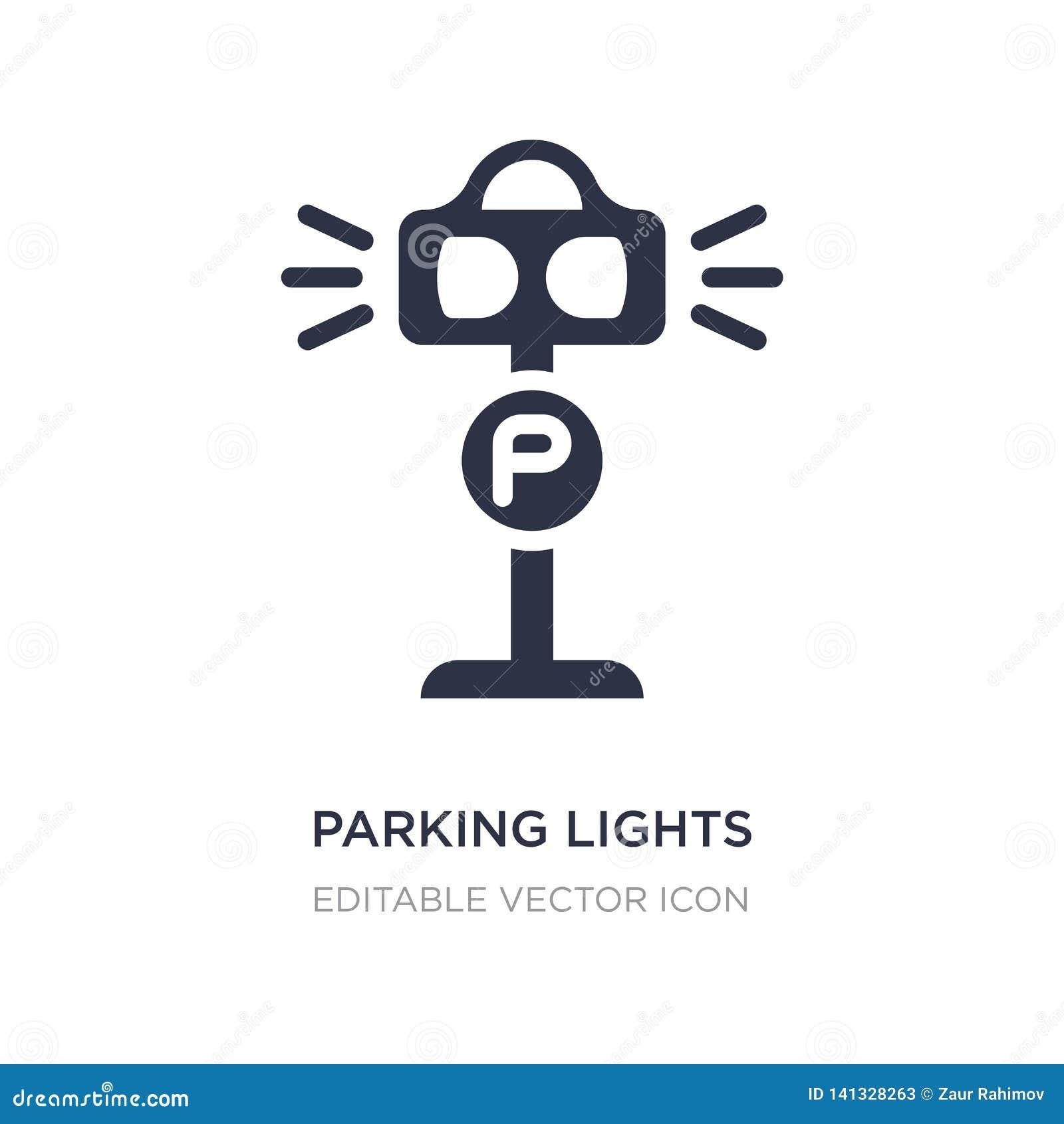 ícone das luzes de estacionamento no fundo branco Ilustração simples do elemento da arquitetura e do conceito da cidade