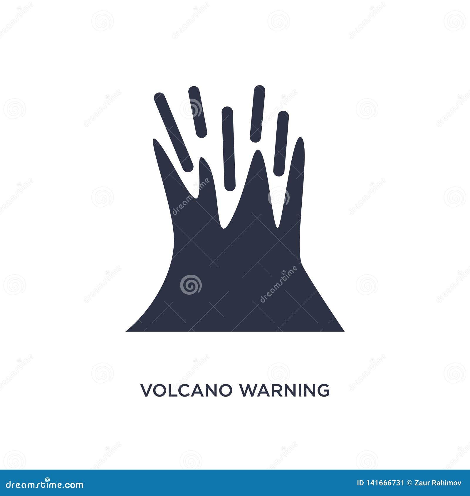 ícone de advertência do vulcão no fundo branco Ilustração simples do elemento do conceito da meteorologia