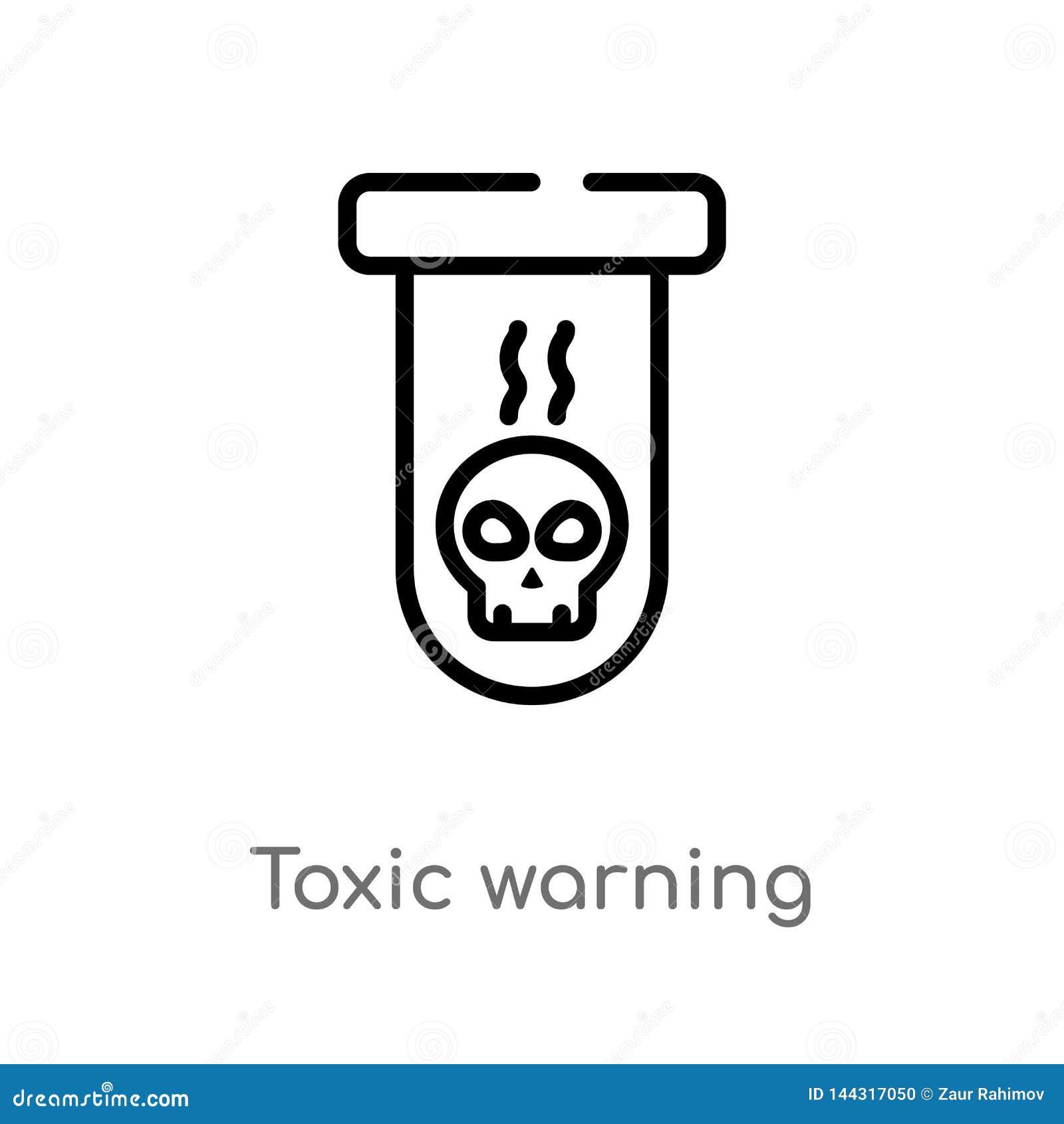 ícone de advertência tóxico do vetor do esboço