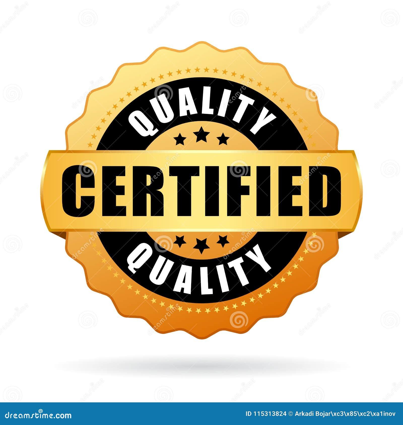 Ícone de alta qualidade do vetor do produto certificado