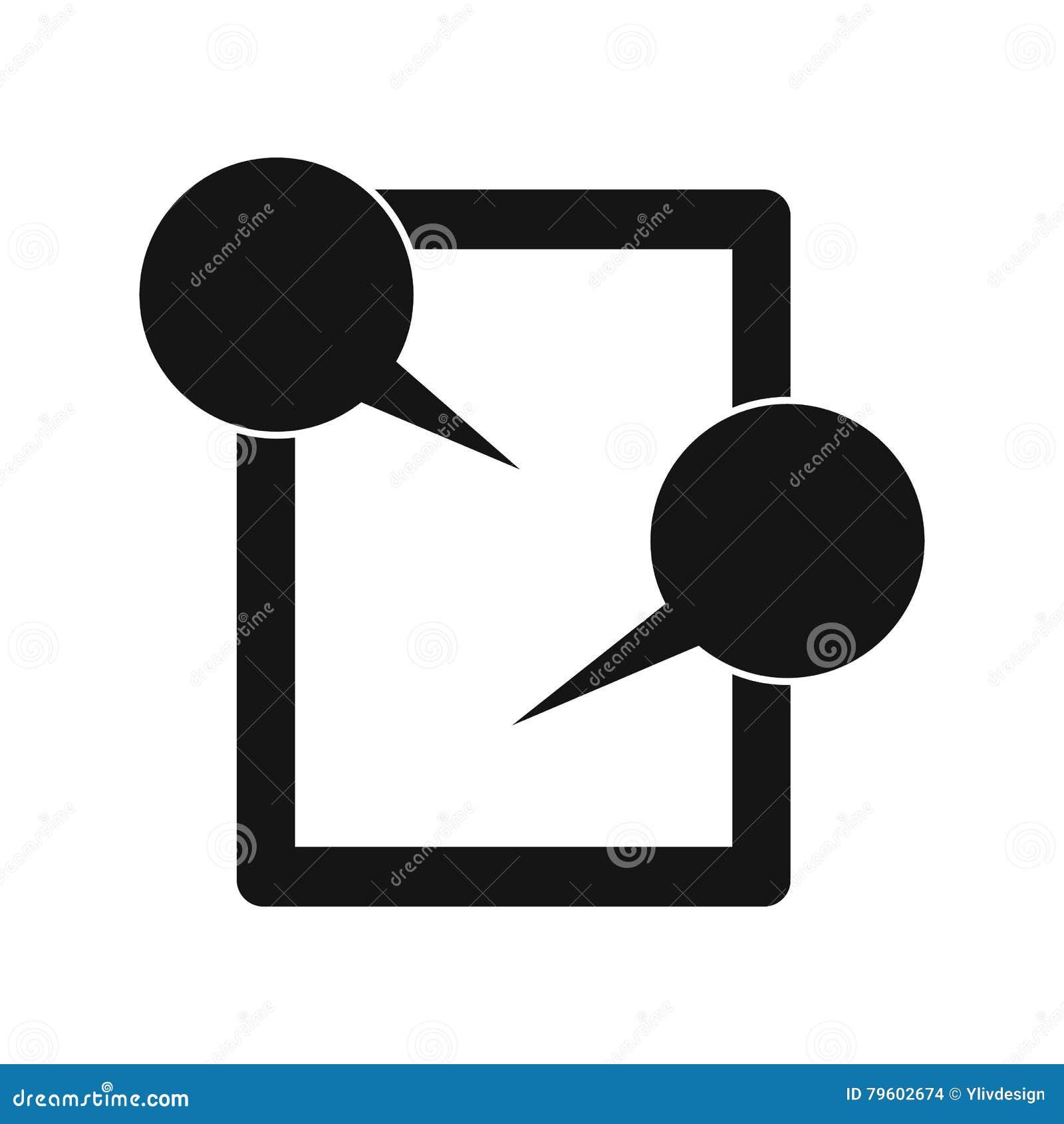 Ícone de conversa da tabuleta, estilo simples