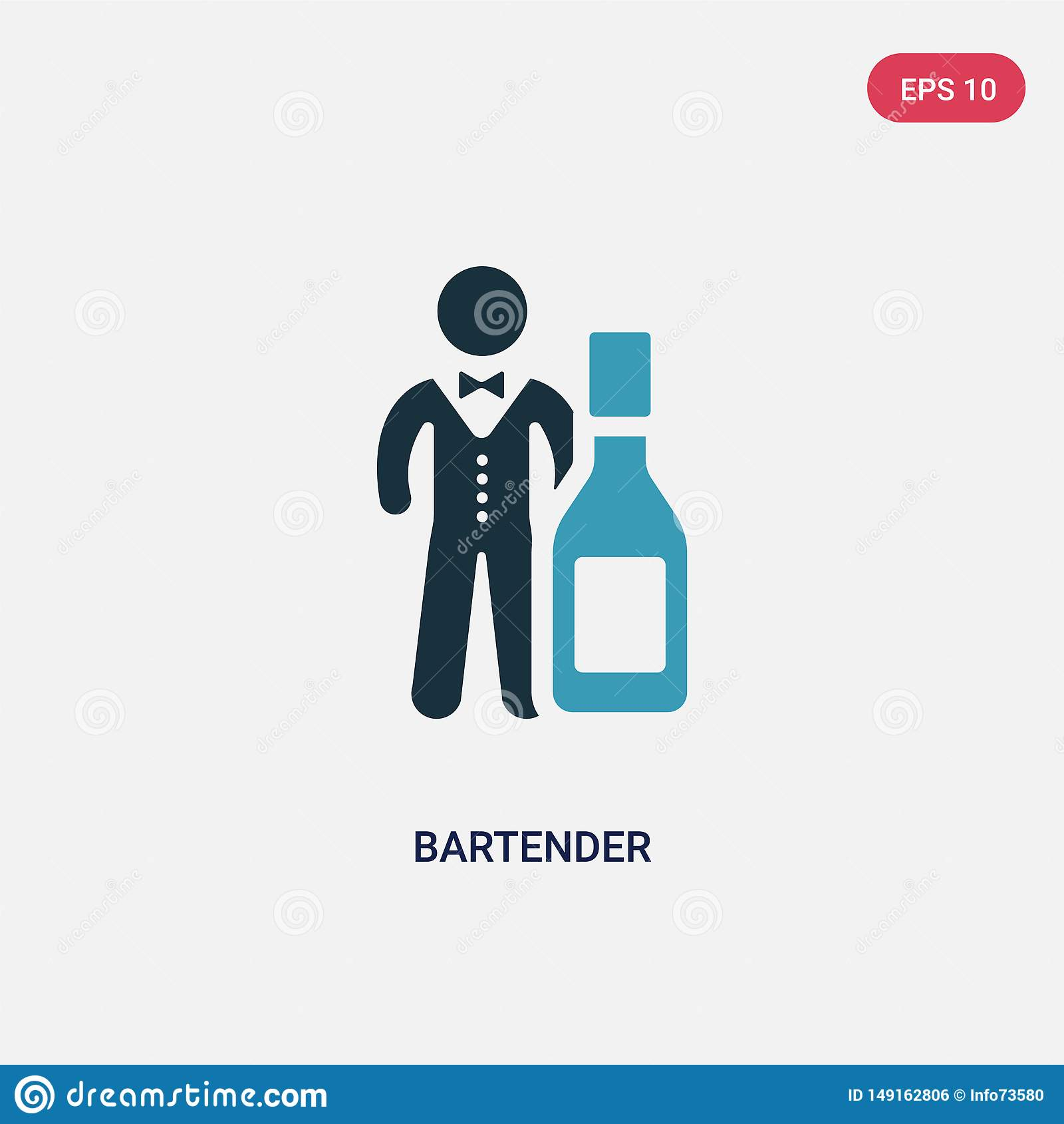Ícone de duas cores do vetor do barman do conceito das habilidades dos povos o símbolo azul isolado do sinal do vetor do barman p
