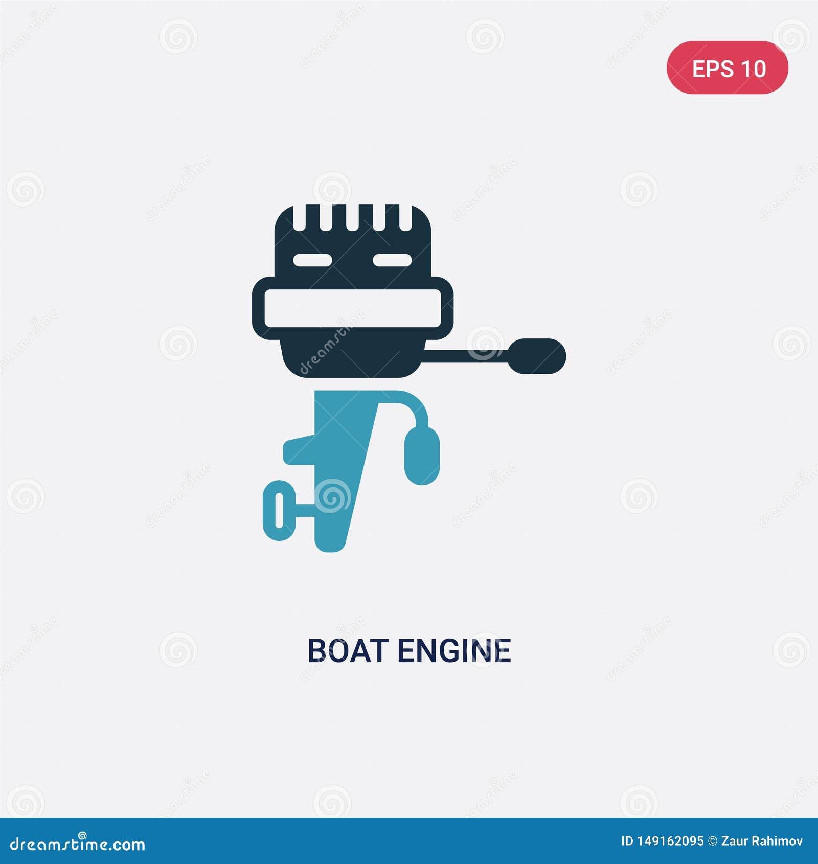 Ícone de duas cores do vetor do motor do barco do conceito náutico o símbolo azul isolado do sinal do vetor do motor do barco pod