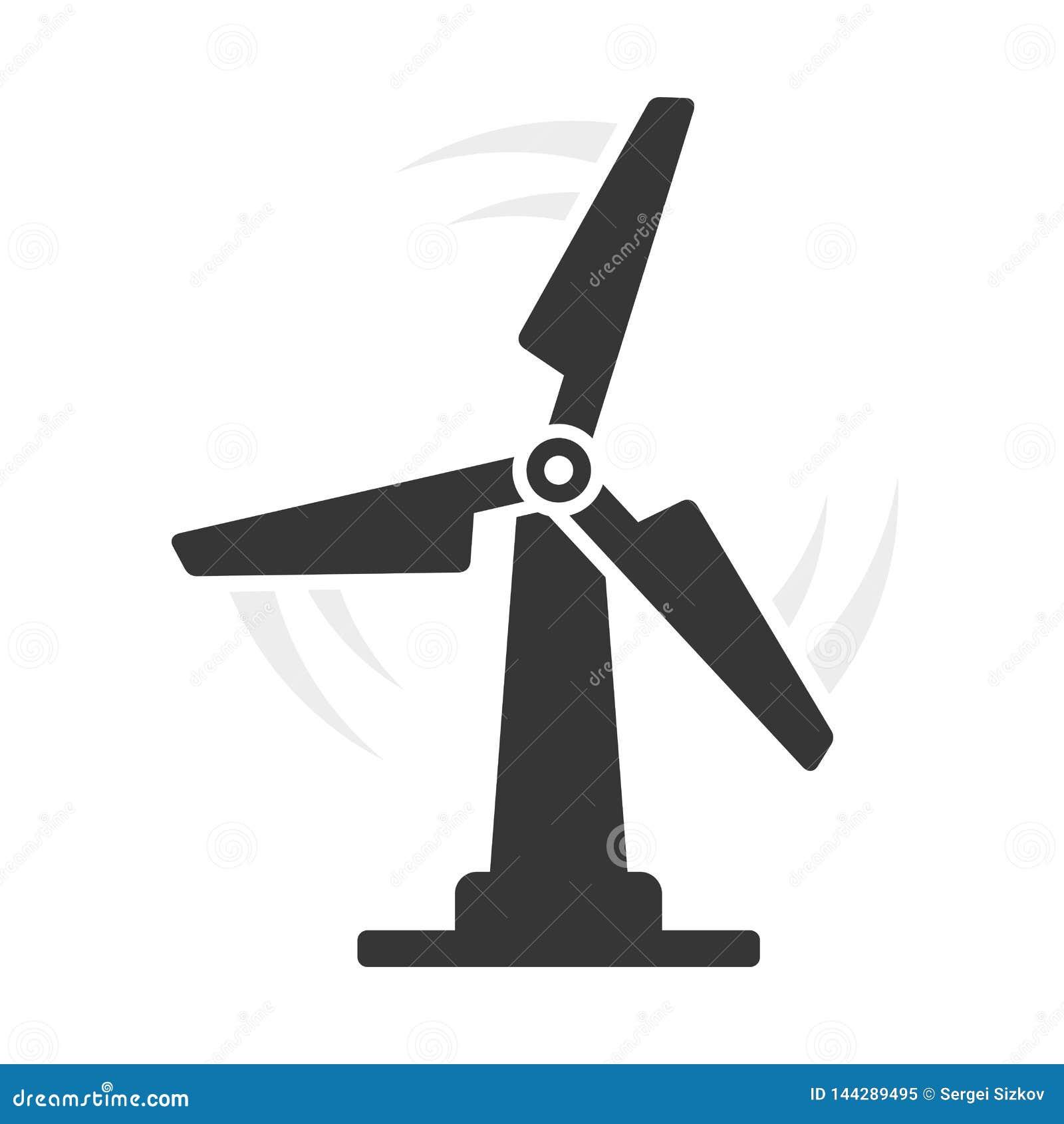 ?cone de Eco do moinho de vento no fundo branco Vetor