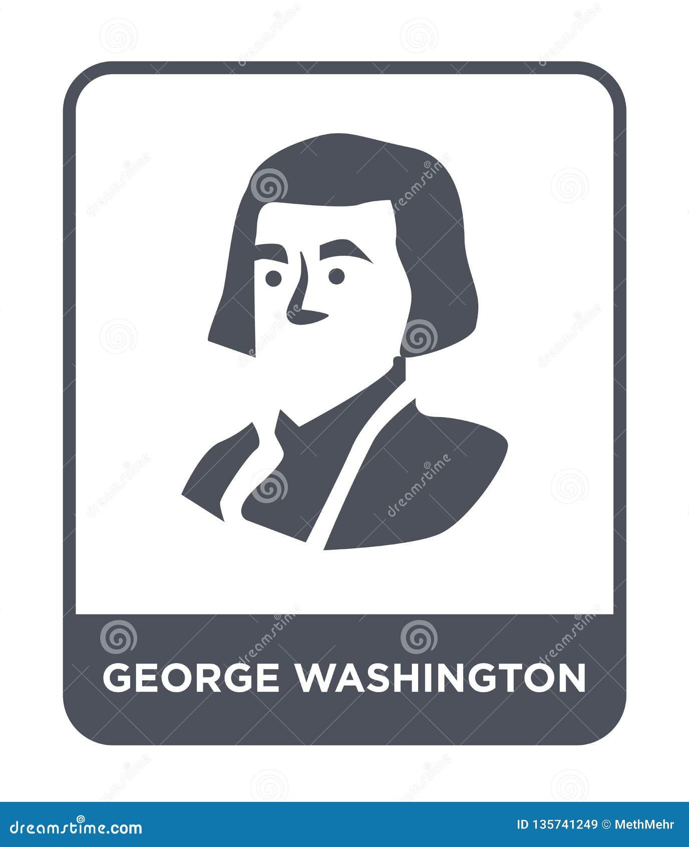 ícone de George Washington no estilo na moda do projeto ícone de George Washington isolado no fundo branco ícone do vetor de Geor