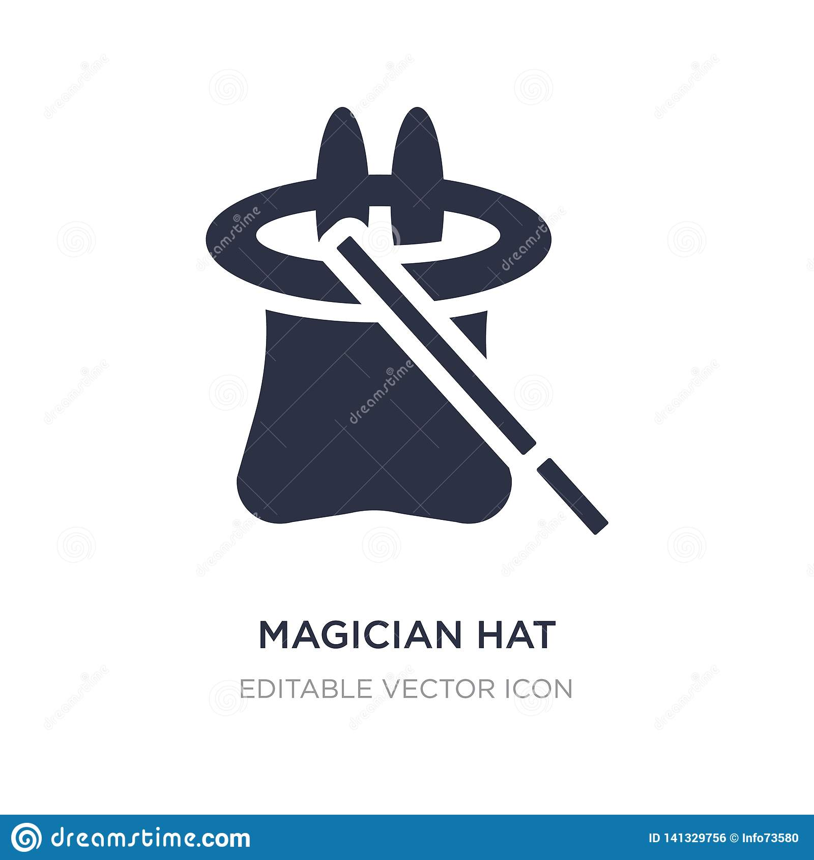 Ícone de Hat do mágico no fundo branco Ilustração simples do elemento do conceito de Dia das Bruxas