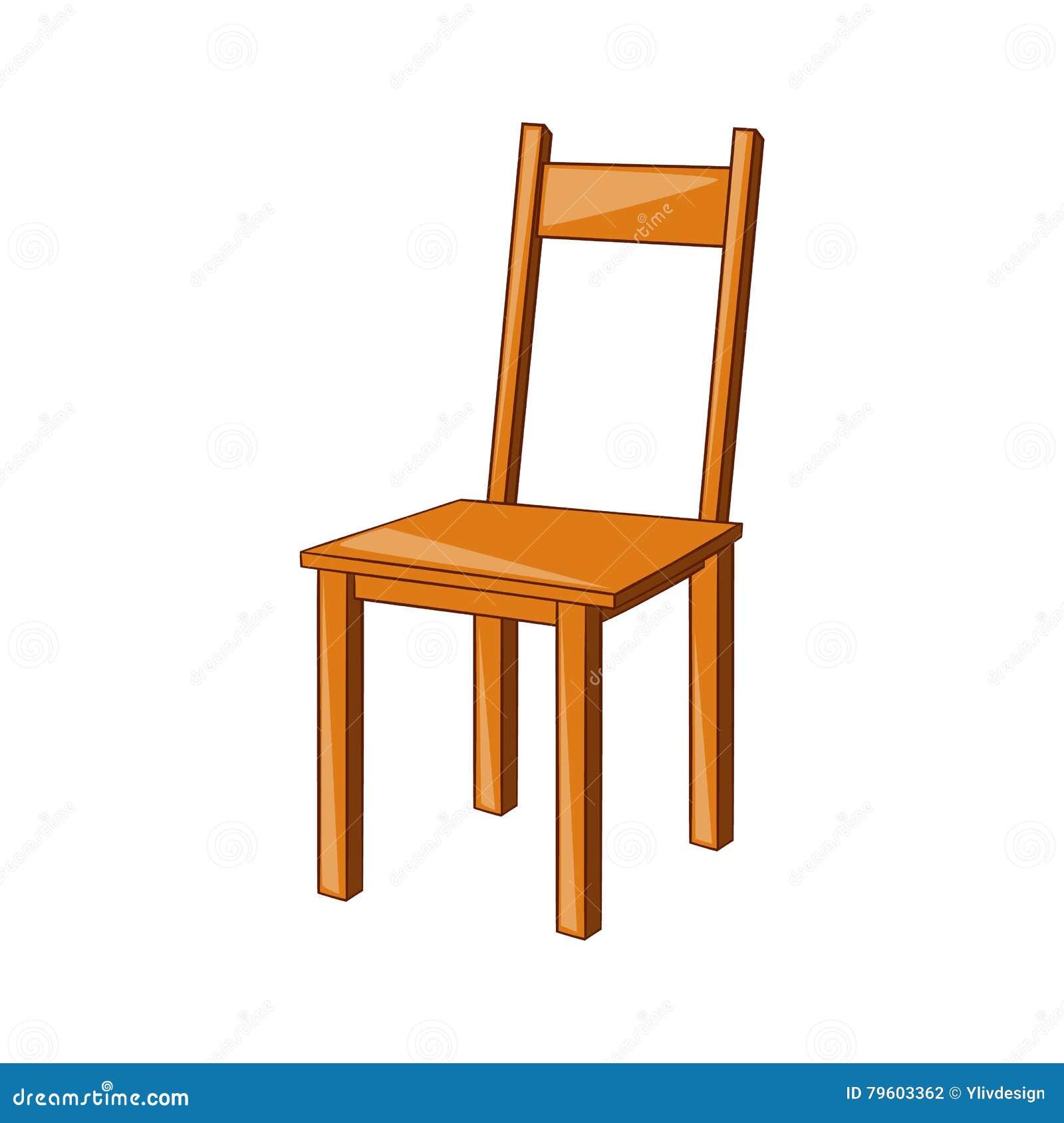 Ícone de madeira da cadeira, estilo dos desenhos animados