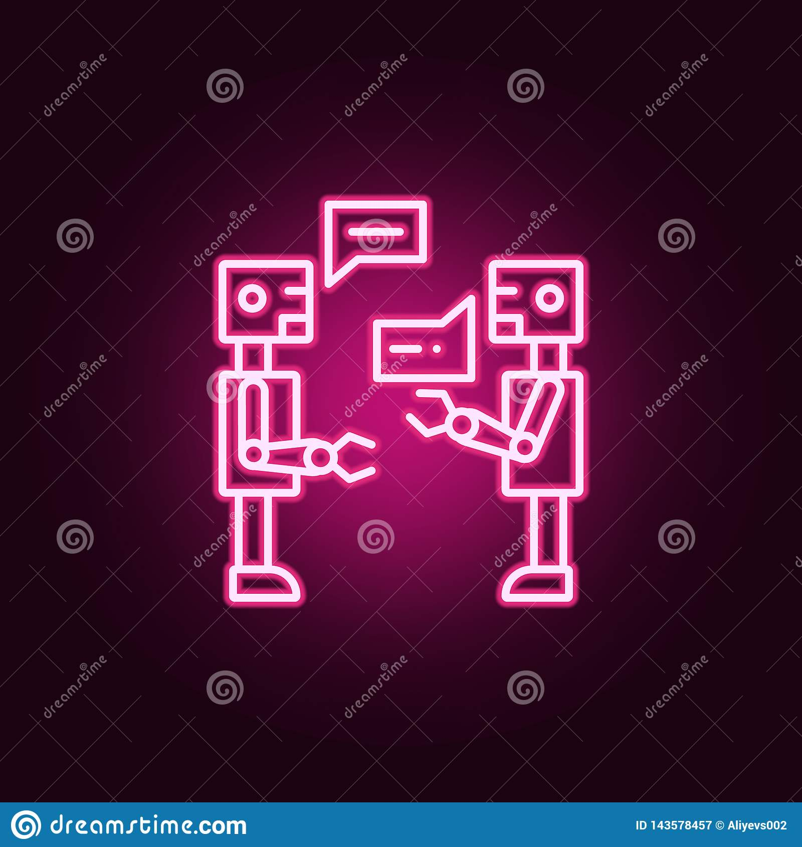 ícone de néon da conversação da inteligência artificial Elementos do grupo da inteligência artificial Ícone simples para Web site