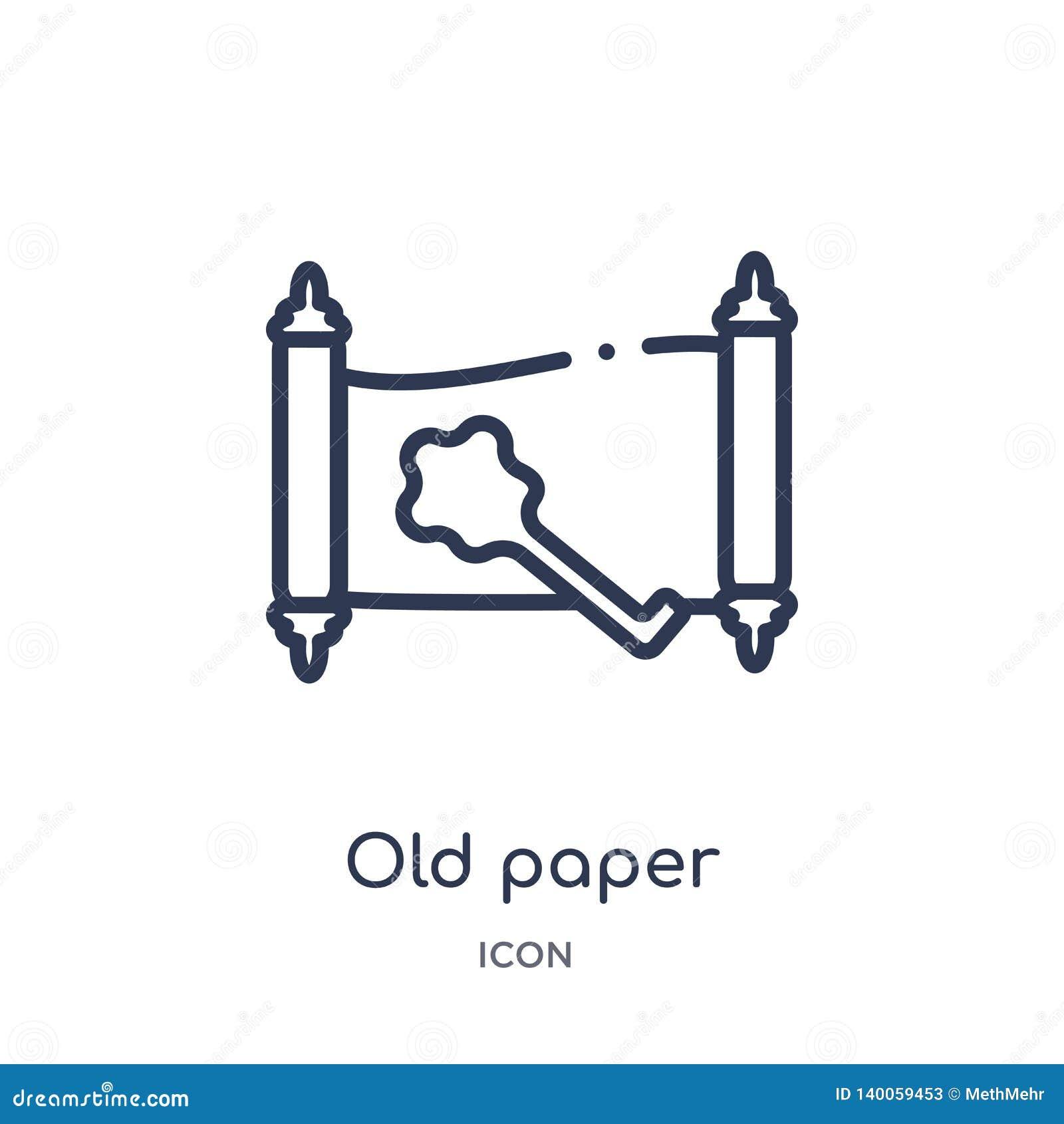 Ícone de papel velho linear da coleção do esboço da história Linha fina ícone de papel velho isolado no fundo branco papel velho