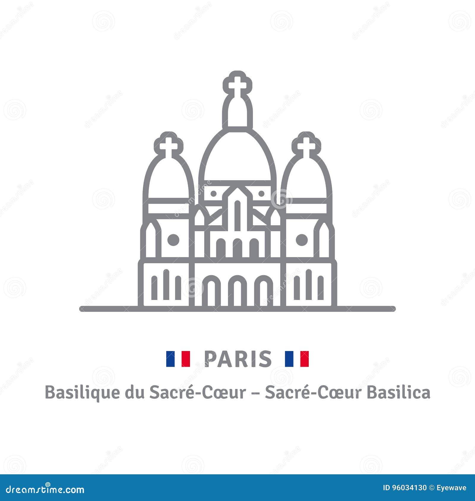 Ícone de Paris com basílica e bandeira de Sacre-Coeur