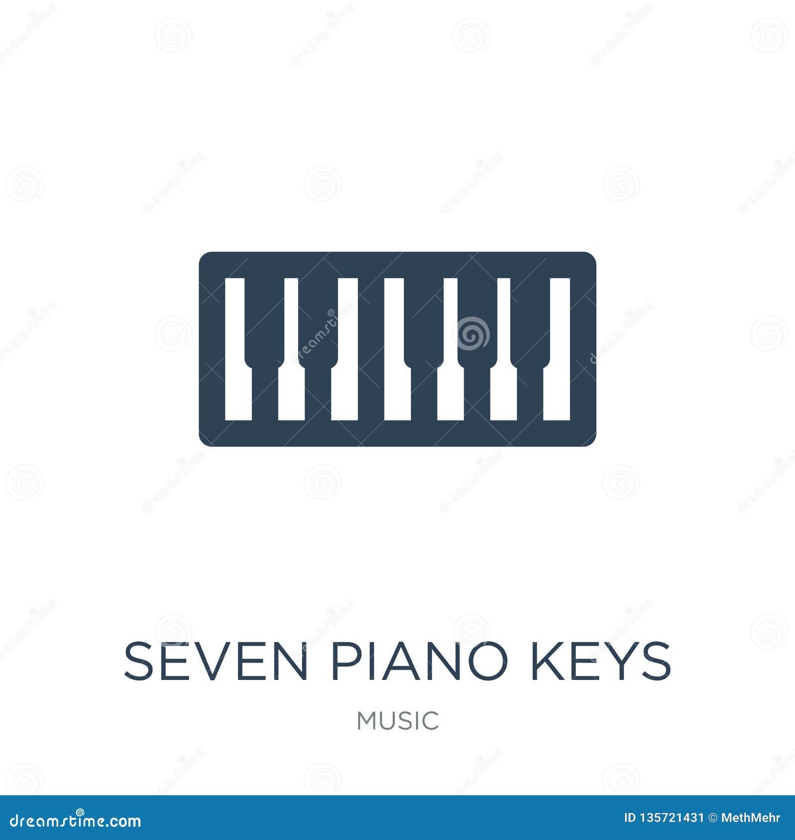 ícone de sete chaves do piano no estilo na moda do projeto ícone de sete chaves do piano isolado no fundo branco ícone do vetor d