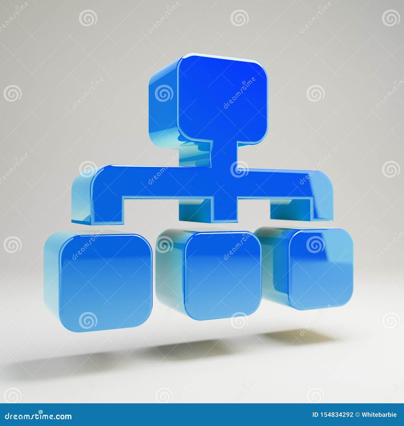 Ícone de sitemap volumétrico azul brilhante isolado sobre fundo branco