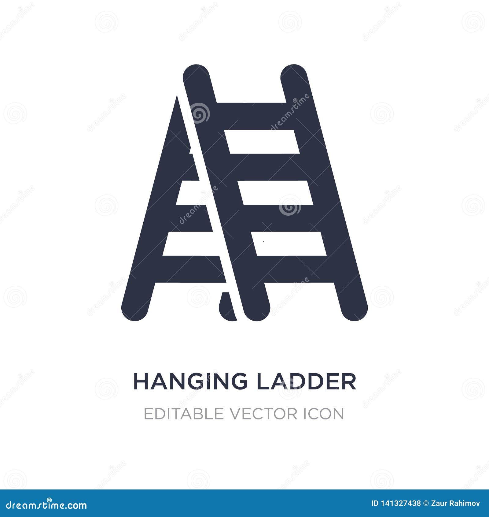 ícone de suspensão da escada no fundo branco Ilustração simples do elemento do conceito das ferramentas e dos utensílios