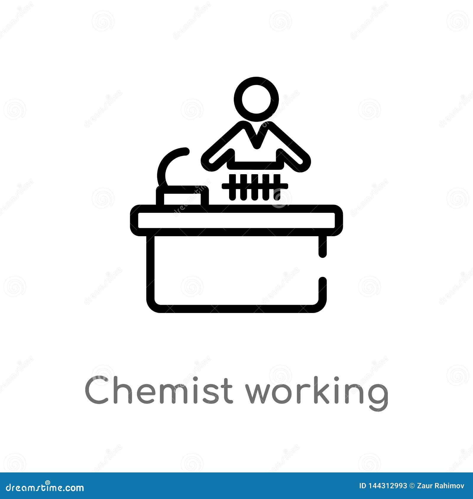 ícone de trabalho do vetor do químico do esboço linha simples preta isolada ilustra??o do elemento do conceito dos povos Curso ed