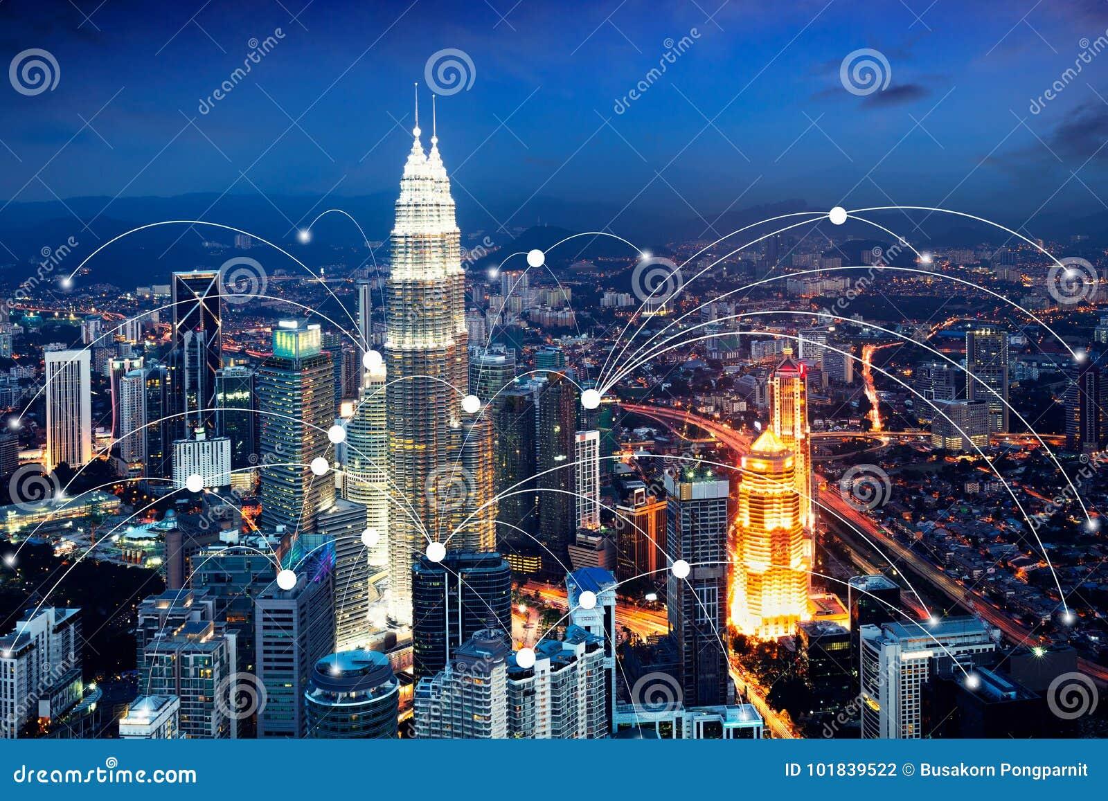 Ícone de Wifi e conceito da conexão de rede do scape da cidade, cidade esperta