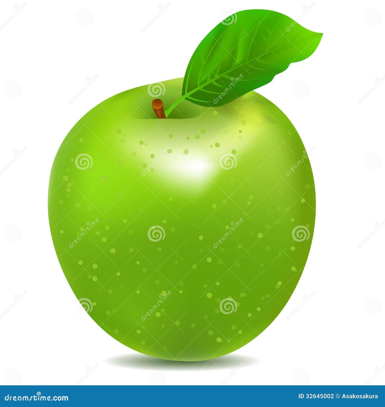 Ícone detalhado da maçã verde brilhante grande