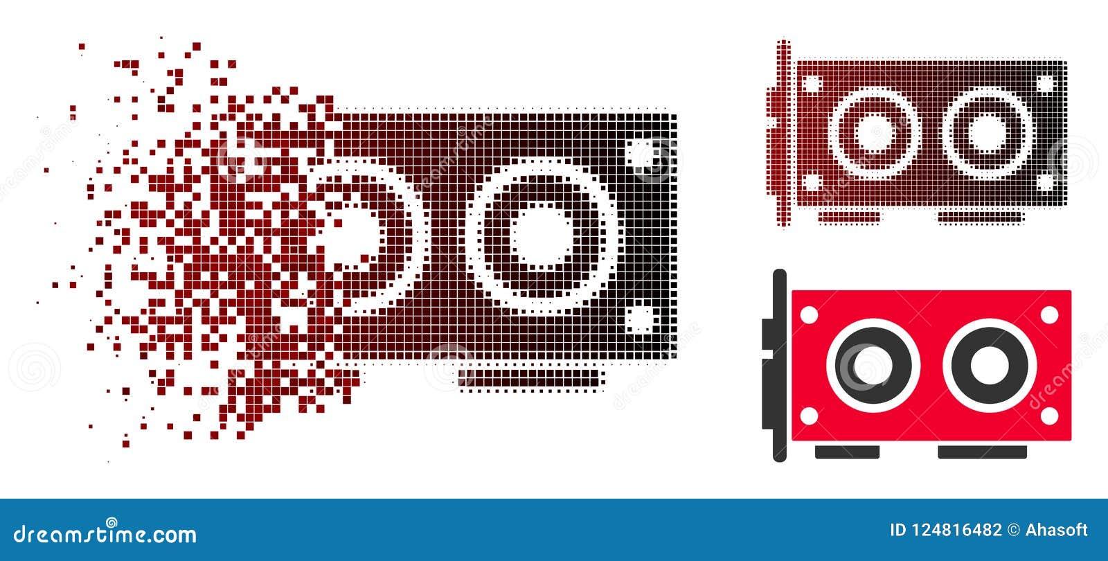 Ícone dissolvido de Dot Halftone Video Graphics Card
