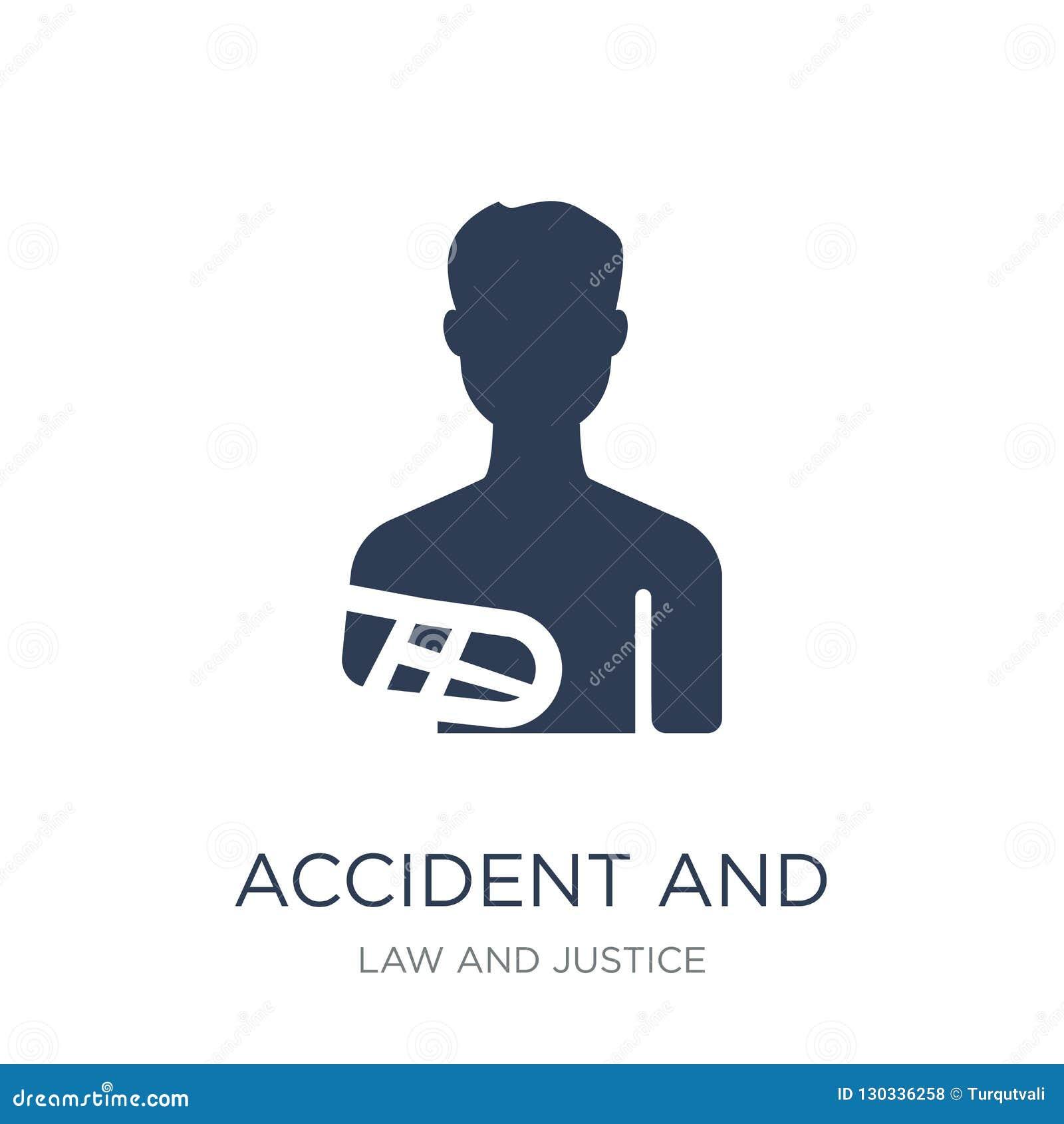 ícone do acidente e dos ferimentos Acidente liso na moda e inju do vetor