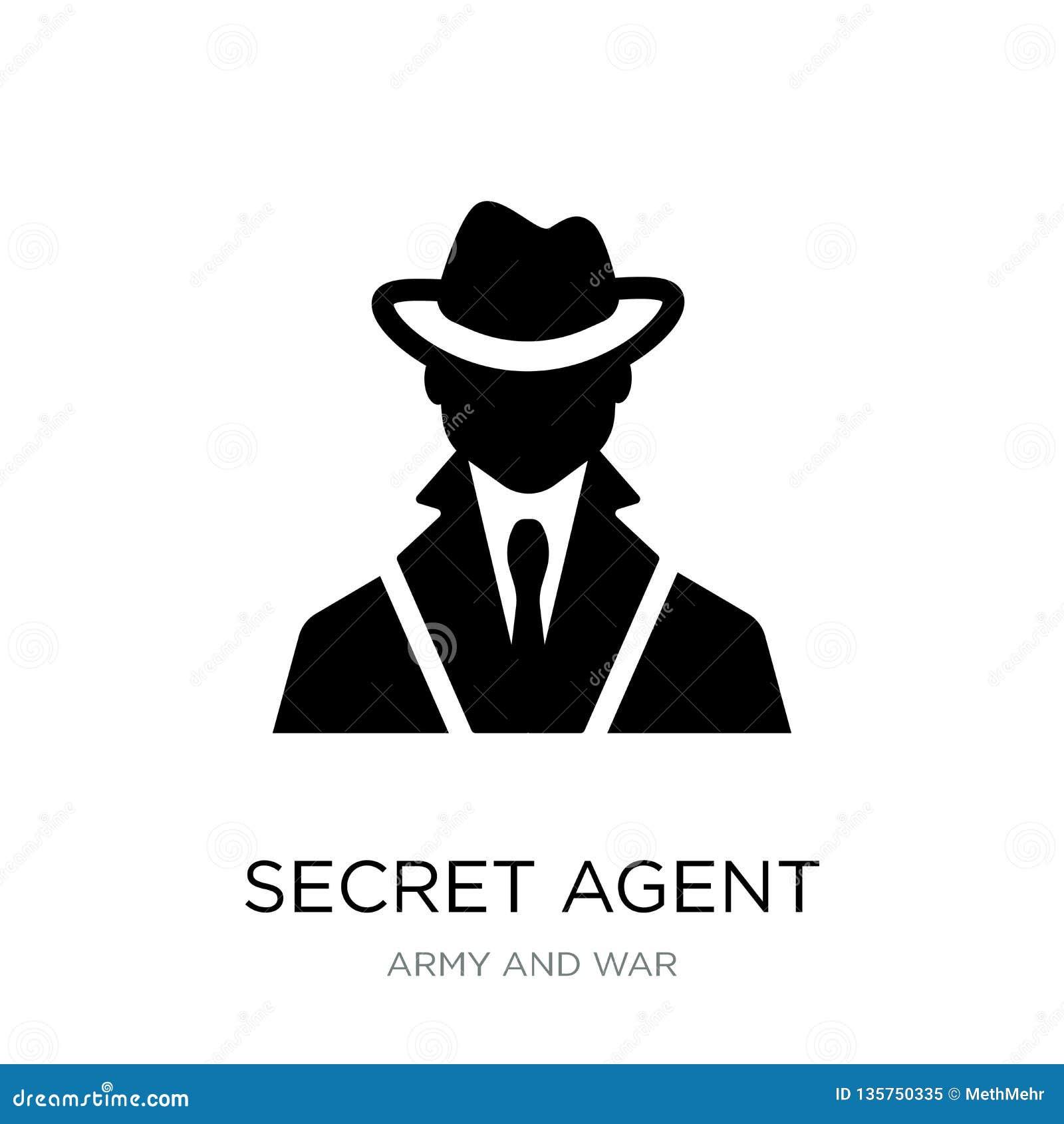 ícone do agente secreto no estilo na moda do projeto ícone do agente secreto isolado no fundo branco ícone do vetor do agente sec