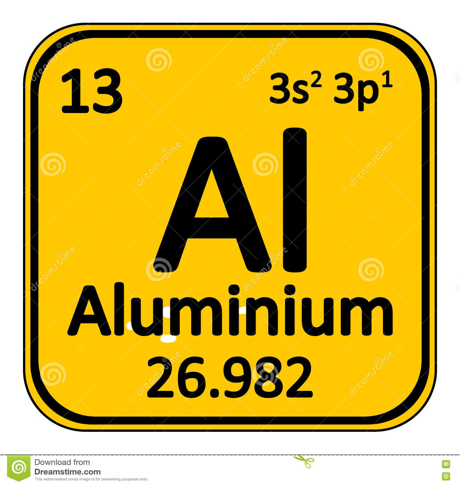 Cone do alum nio do elemento de tabela peri dica - Simbolo de aluminio ...