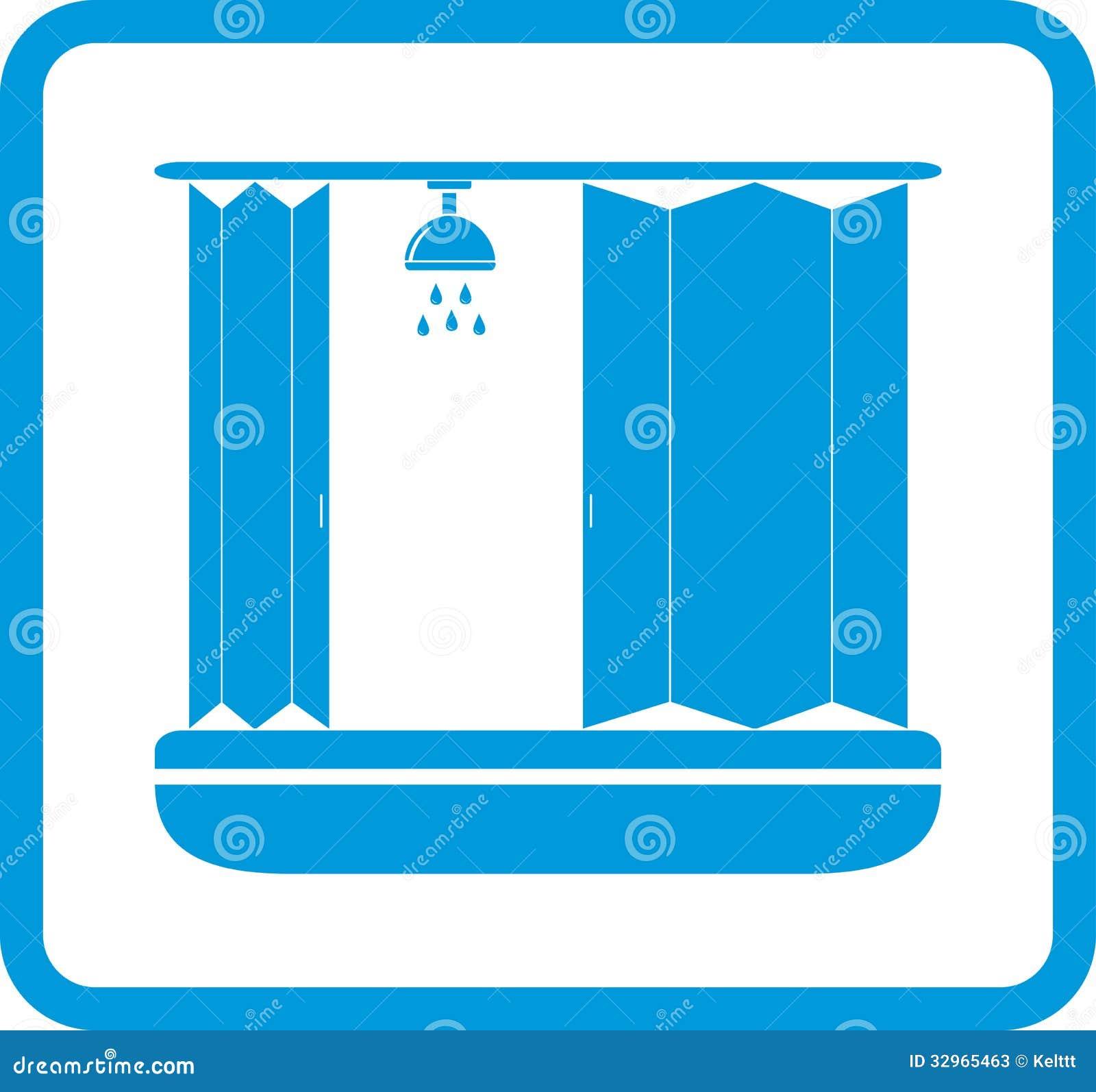 Ícone Do Banheiro Com Casa De Banho Com Chuveiro Fotos de Stock  #028CC9 1300x1312 Banheiro Azul Banda