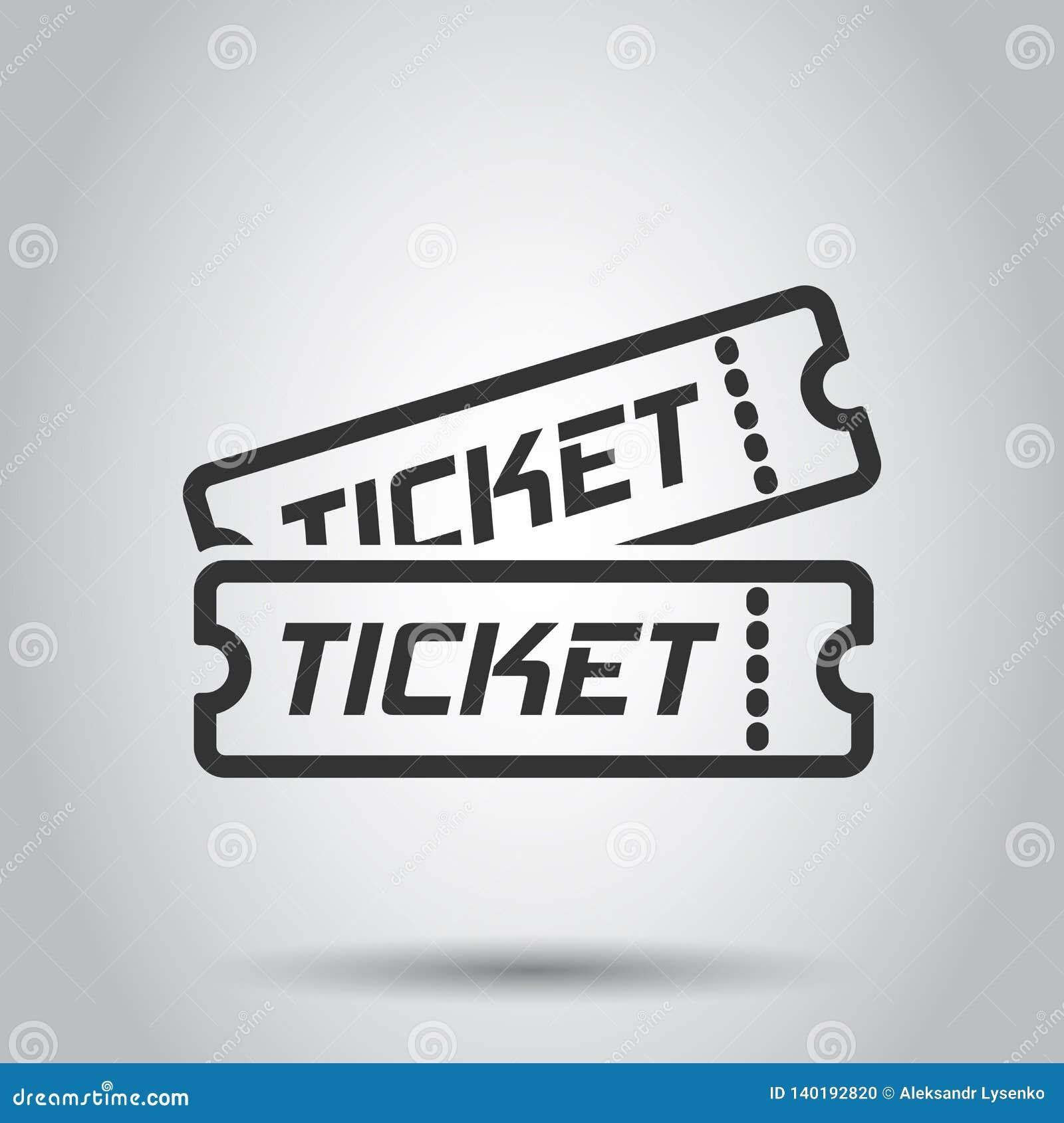 Ícone do bilhete do cinema no estilo liso Admita uma ilustração do vetor da entrada do vale no fundo branco Conceito do negócio d