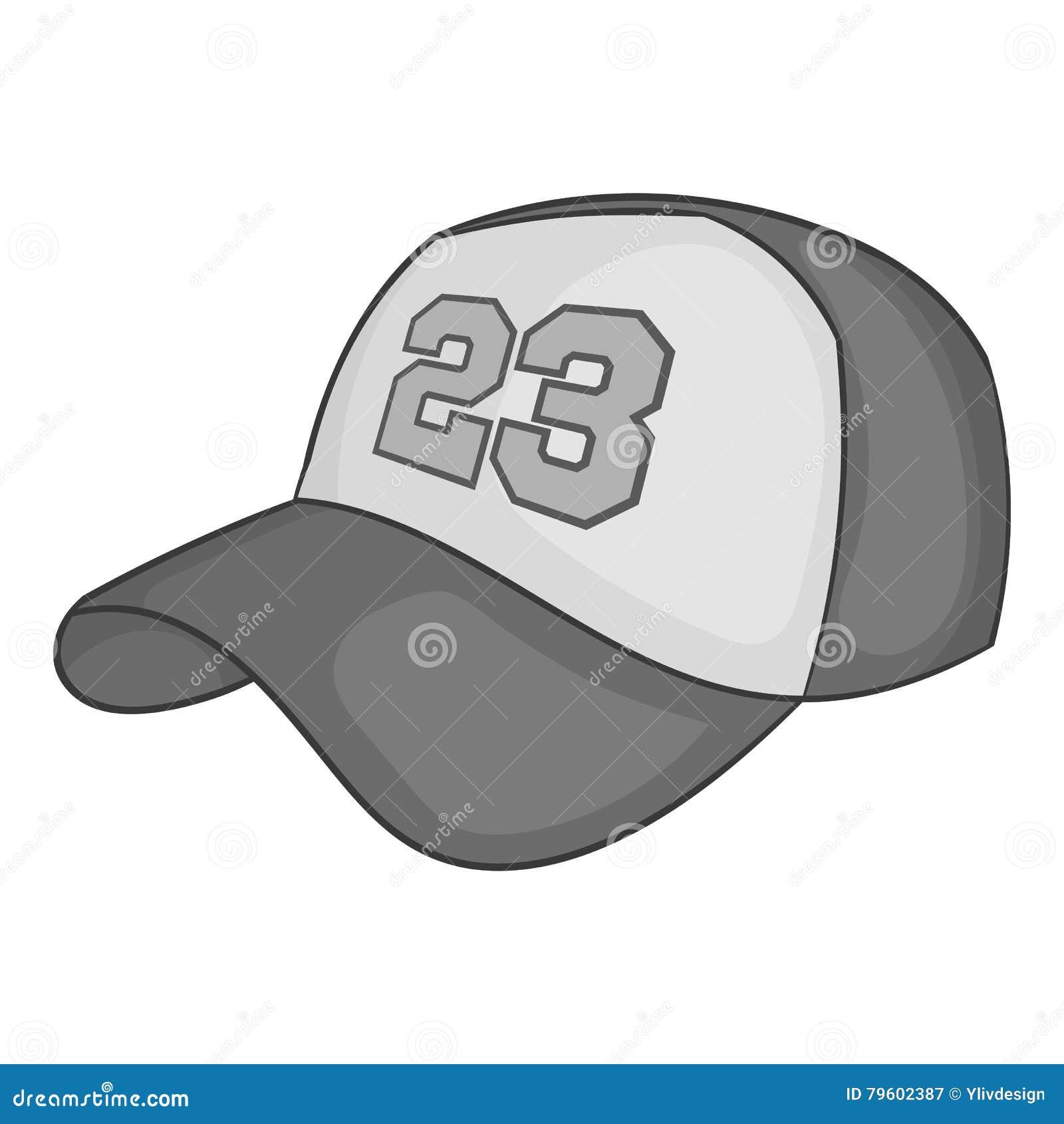 Ícone do boné de beisebol, estilo monocromático preto