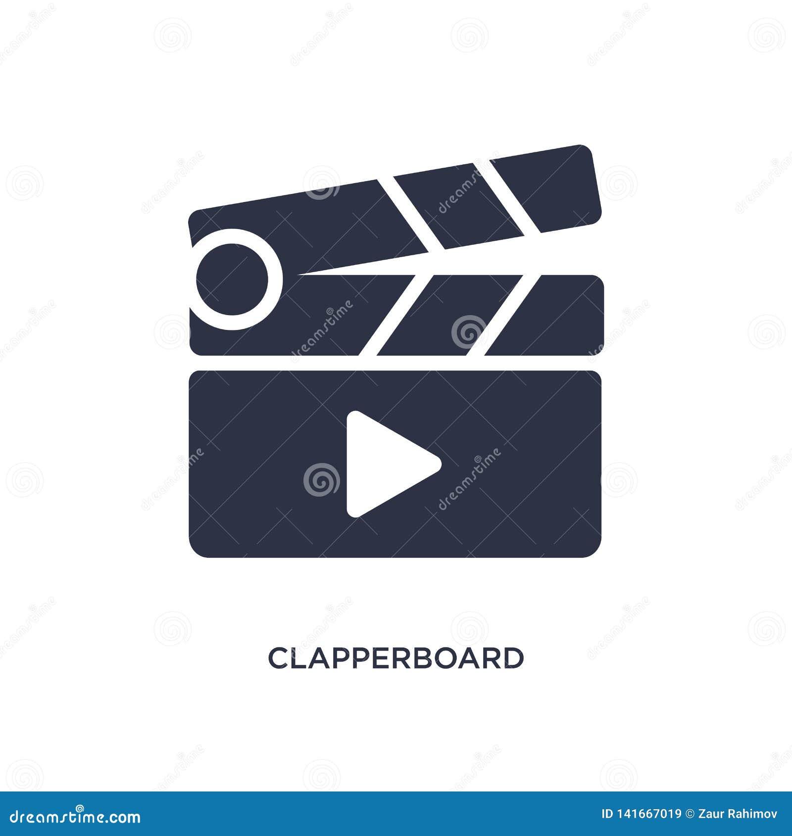 ícone do botão do jogo do clapperboard no fundo branco Ilustração simples do elemento da música e do conceito dos meios