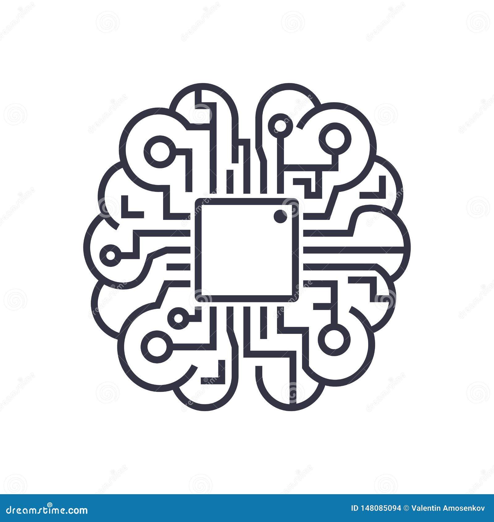 Ícone do cérebro da inteligência artificial - símbolo do conceito da tecnologia do AI do vetor, elemento do projeto