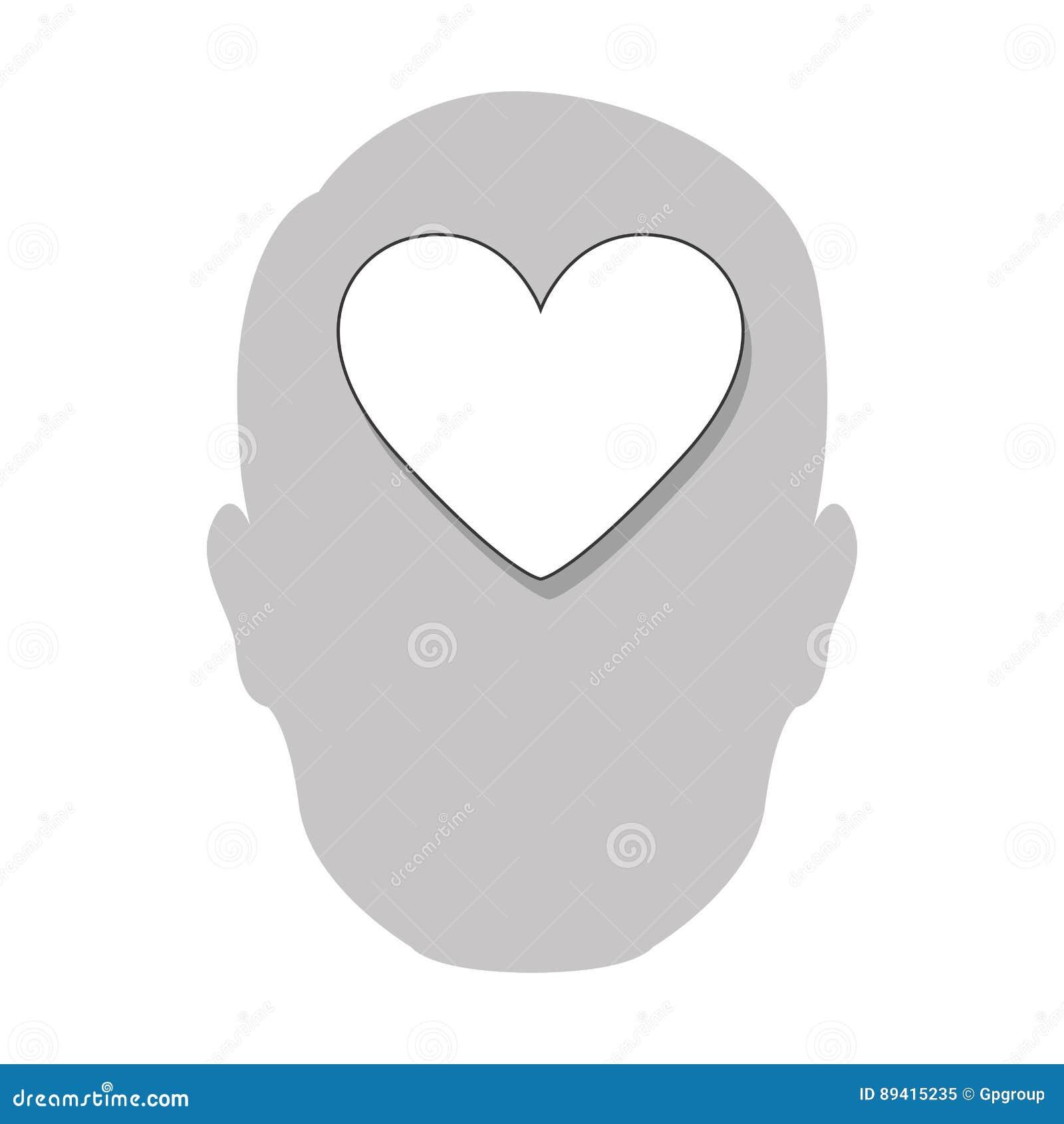 ícone do cérebro do coração da pessoa