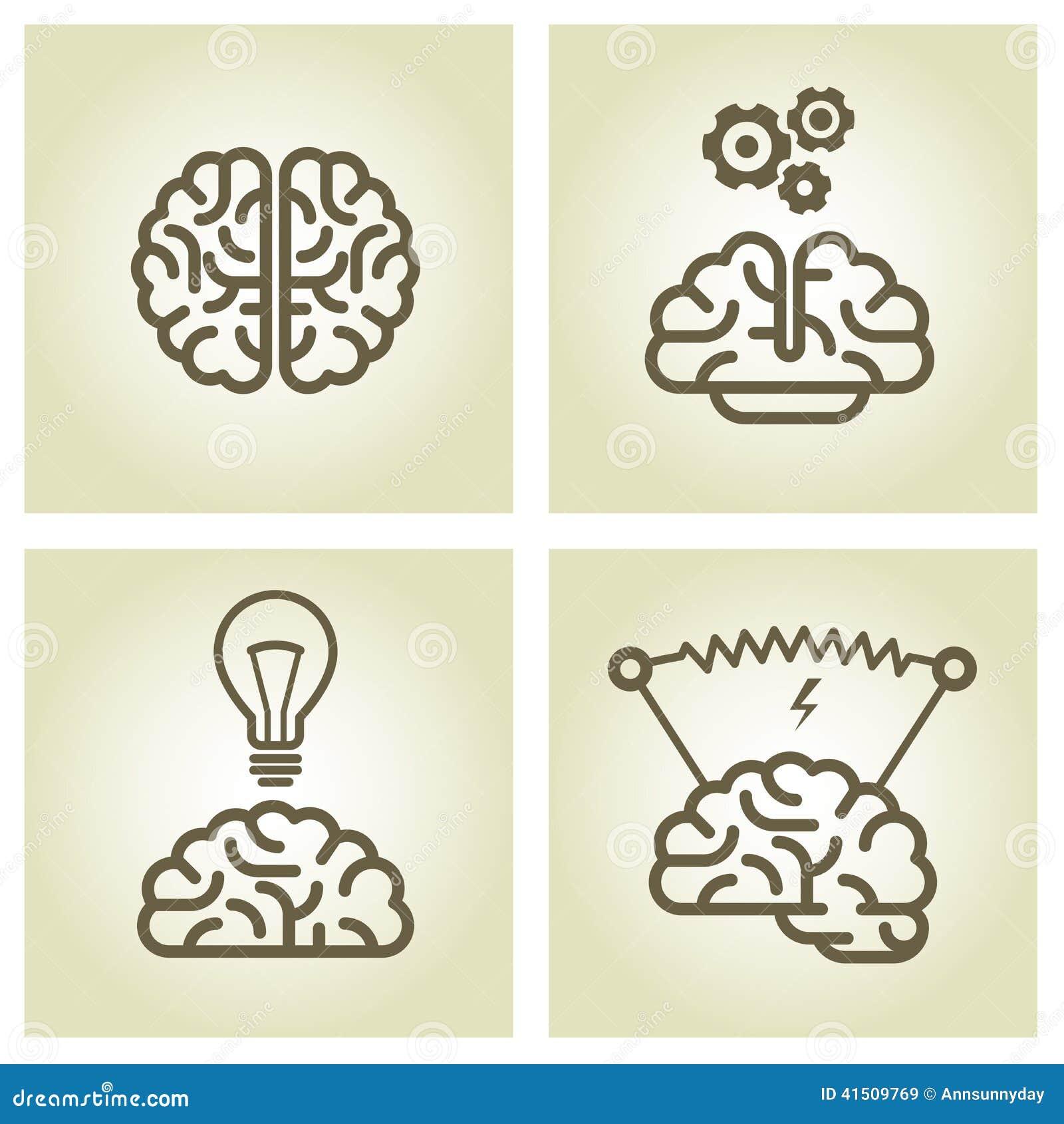 Ícone do cérebro - símbolos da invenção e da inspiração