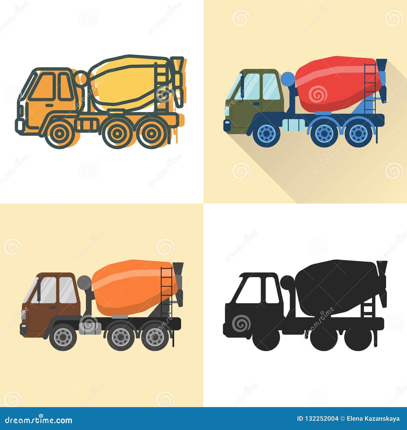 Ícone do caminhão do misturador concreto ajustado no plano e na linha estilos