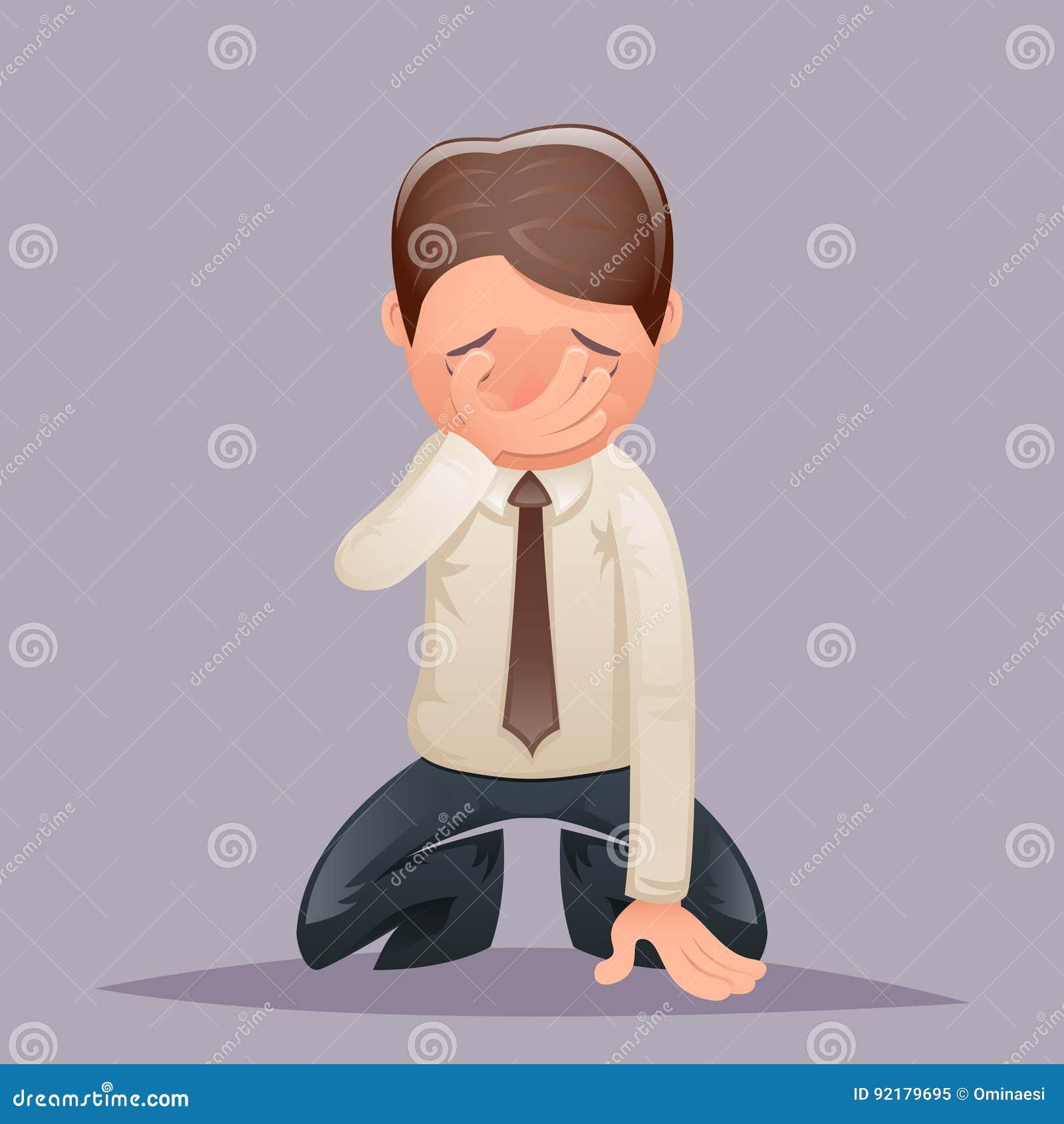 Ícone do caráter do sofrimento de Despair Regret Suffer do homem de negócios do vintage do grito da genuflexão de Facepalm em des