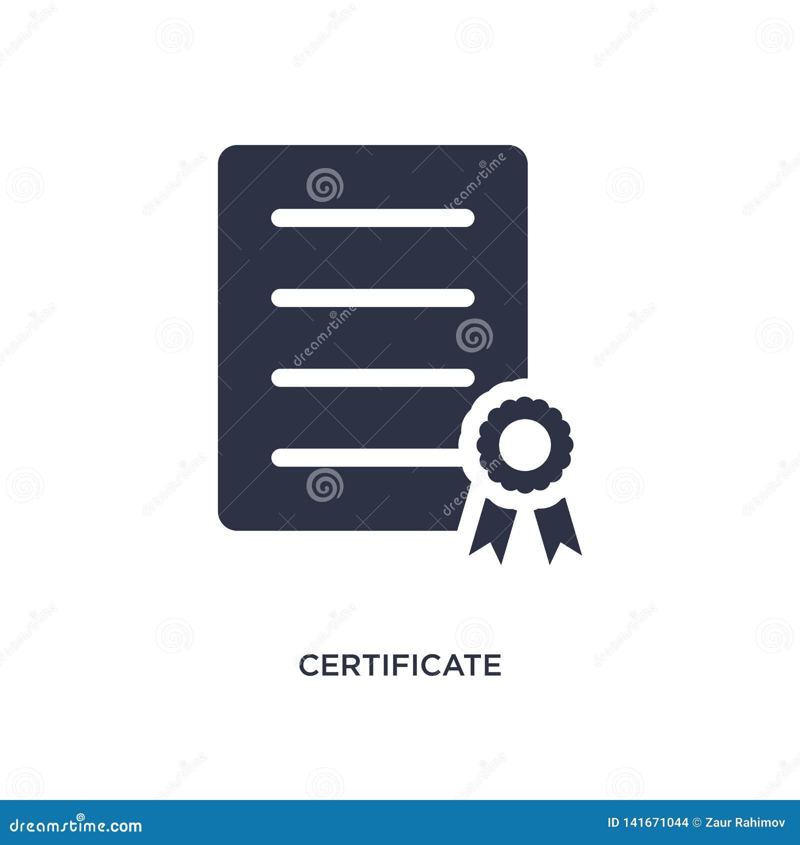Ícone do certificado no fundo branco Ilustração simples do elemento da entrega e do conceito logístico