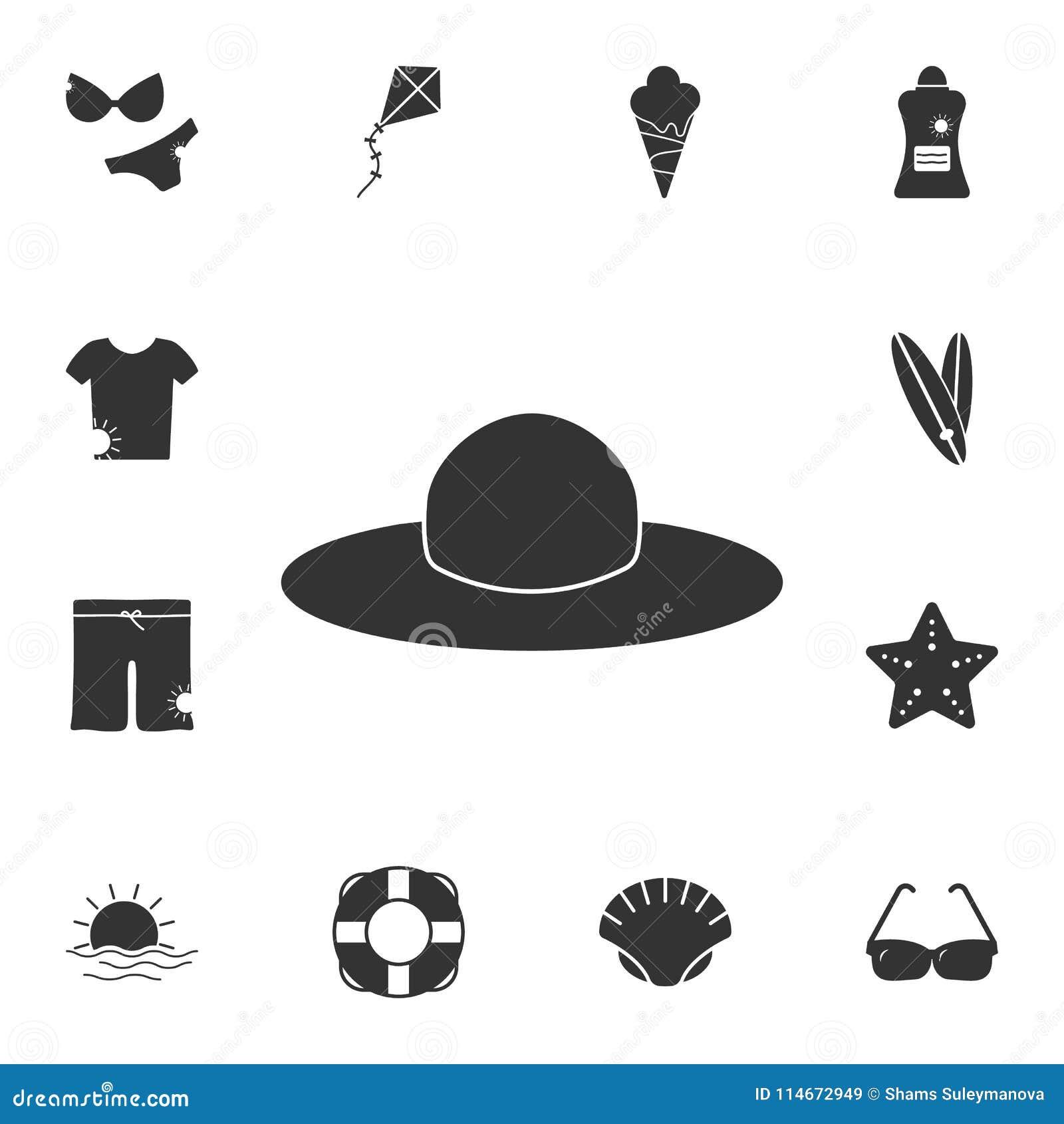 Ícone do chapéu Grupo detalhado de ilustrações do verão Ícone superior do projeto gráfico da qualidade Um dos ícones da coleção p