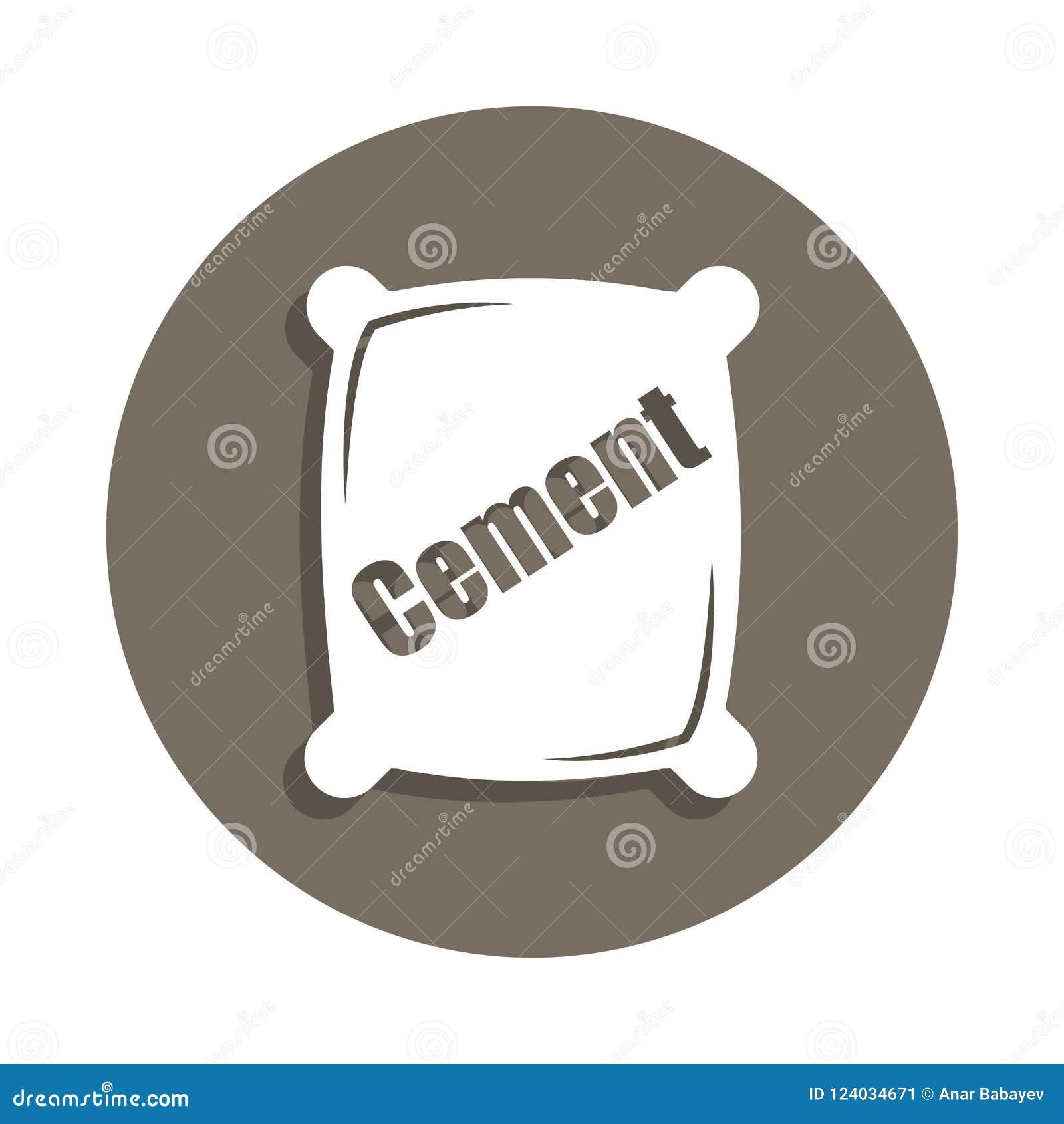 ícone do cimento no estilo do crachá Um do ícone da coleção dos materiais de construção pode ser usado para UI, UX