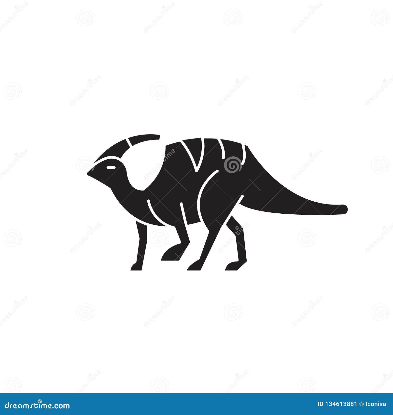 Ícone do conceito do vetor do preto de Parasaurolophus Ilustração lisa de Parasaurolophus, sinal