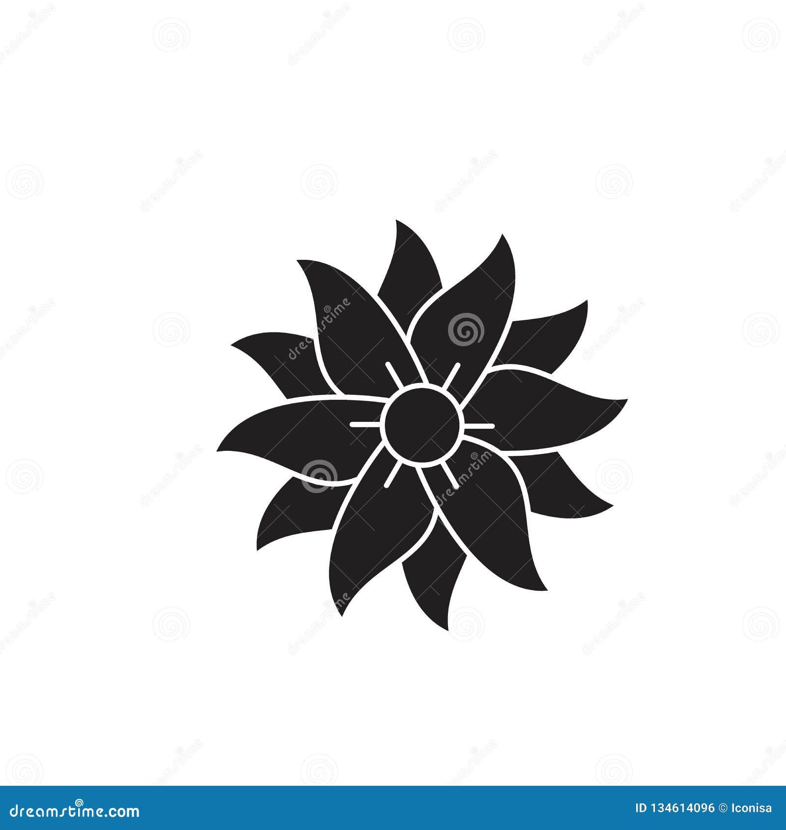 Ícone do conceito do vetor do preto do petúnia Ilustração lisa do petúnia, sinal