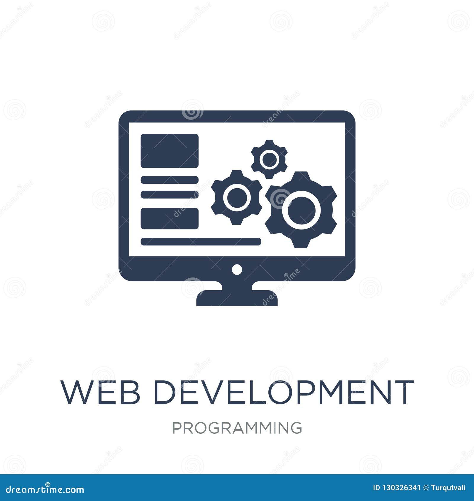Ícone do desenvolvimento da Web Ícone liso na moda do desenvolvimento da Web do vetor sobre