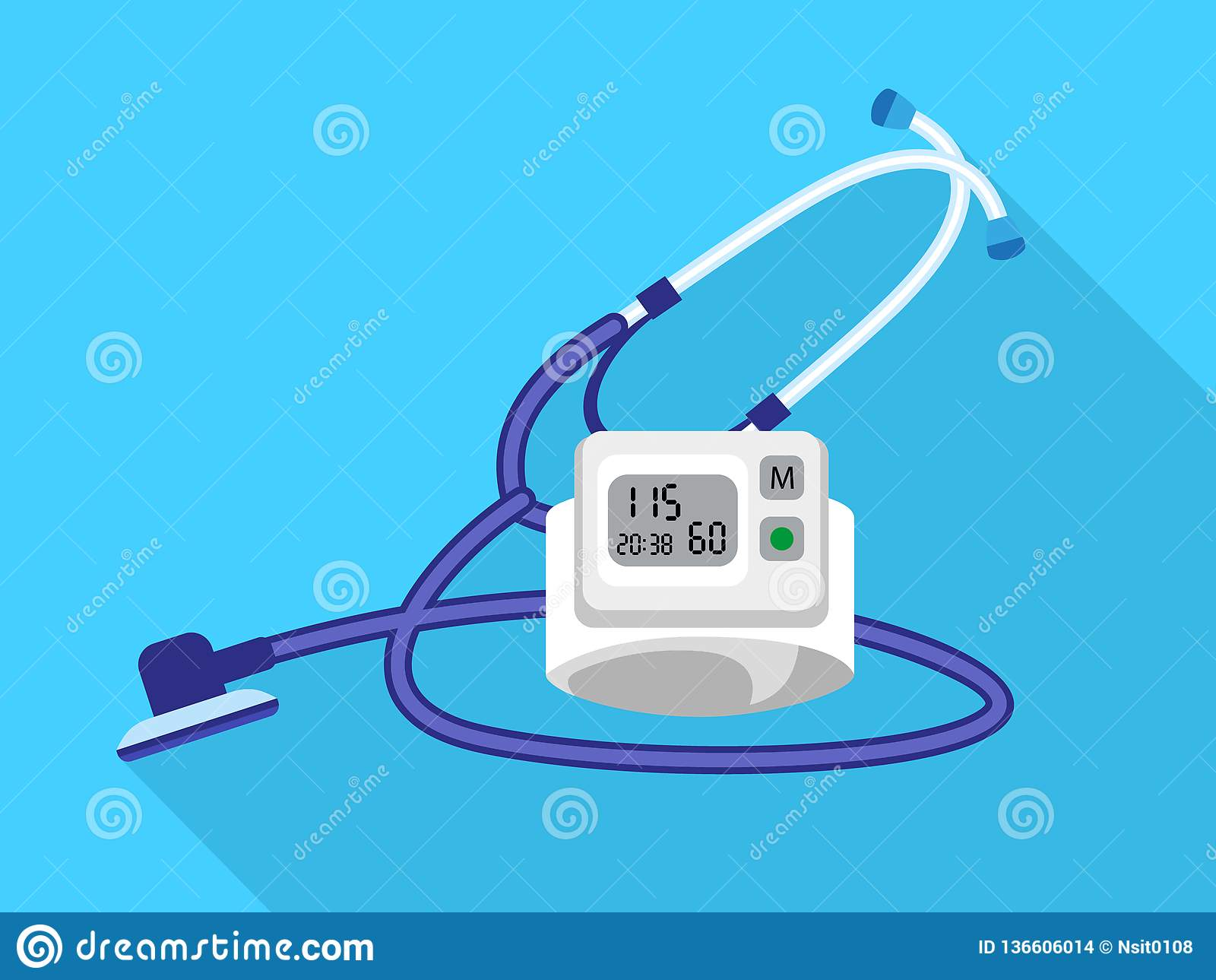 Ícone do dispositivo do presure do sangue do estetoscópio, estilo liso
