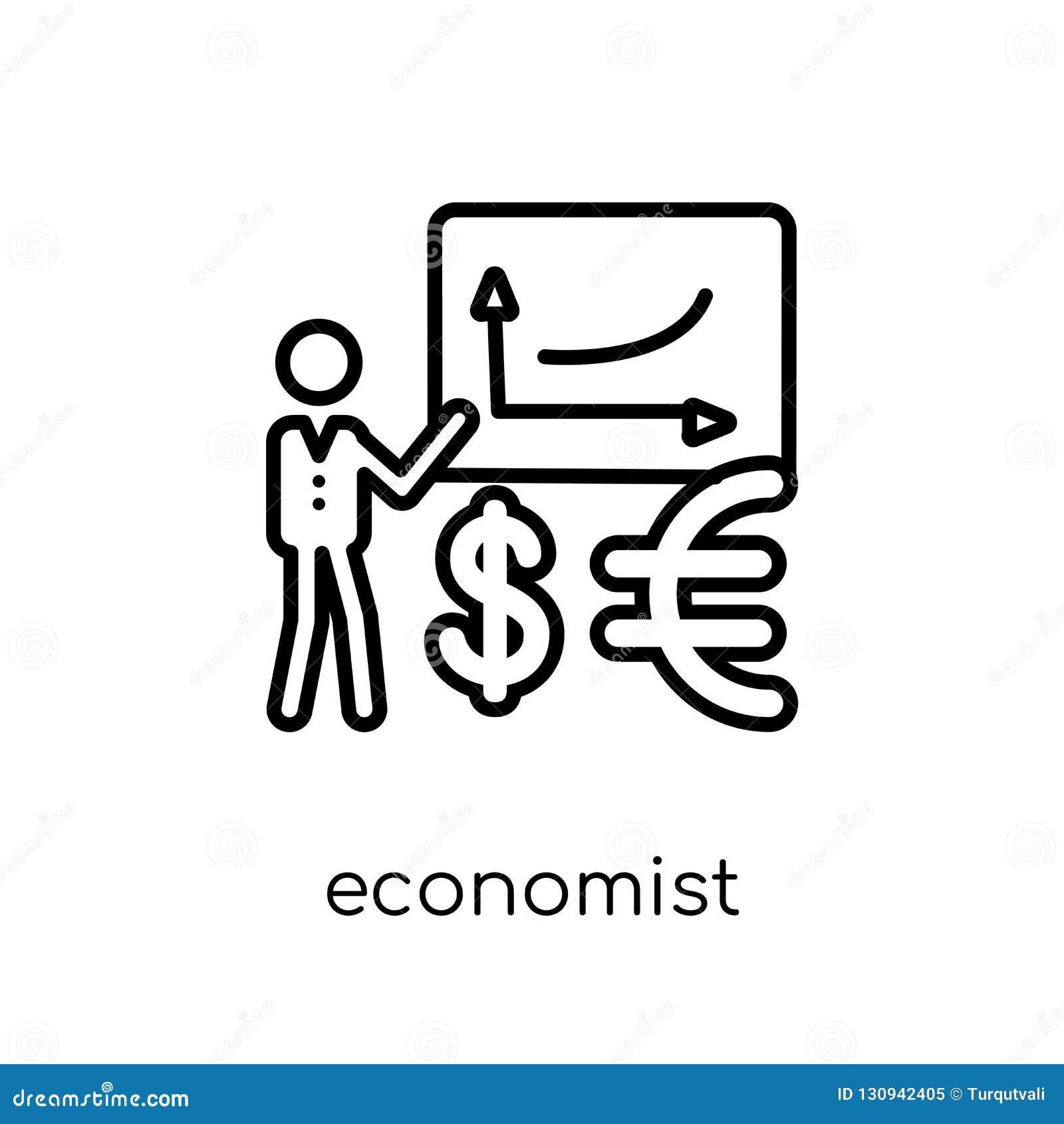 Ícone do economista Ícone linear liso moderno na moda do economista do vetor