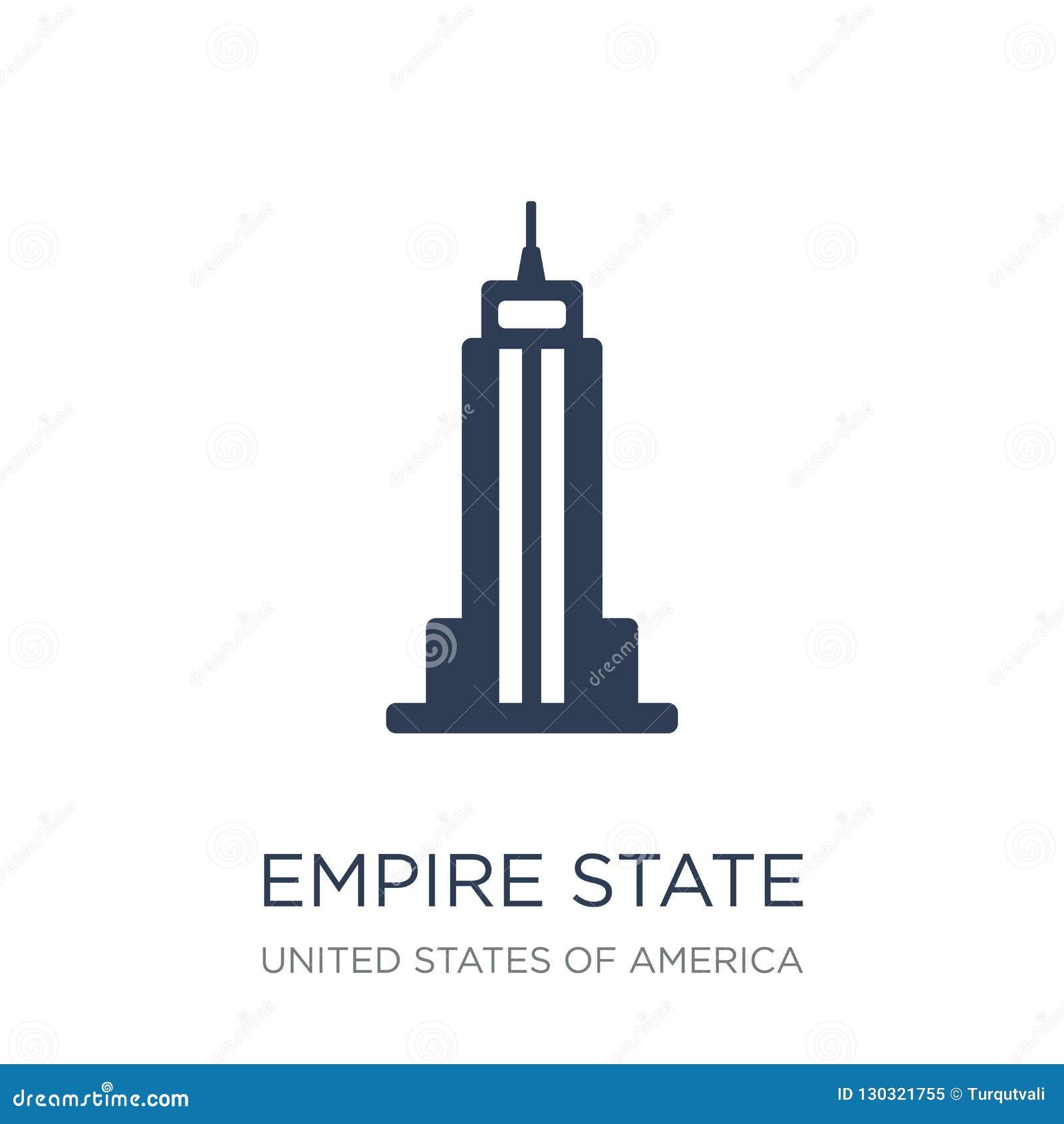 Ícone do Empire State Building Buil liso na moda do estado do império do vetor