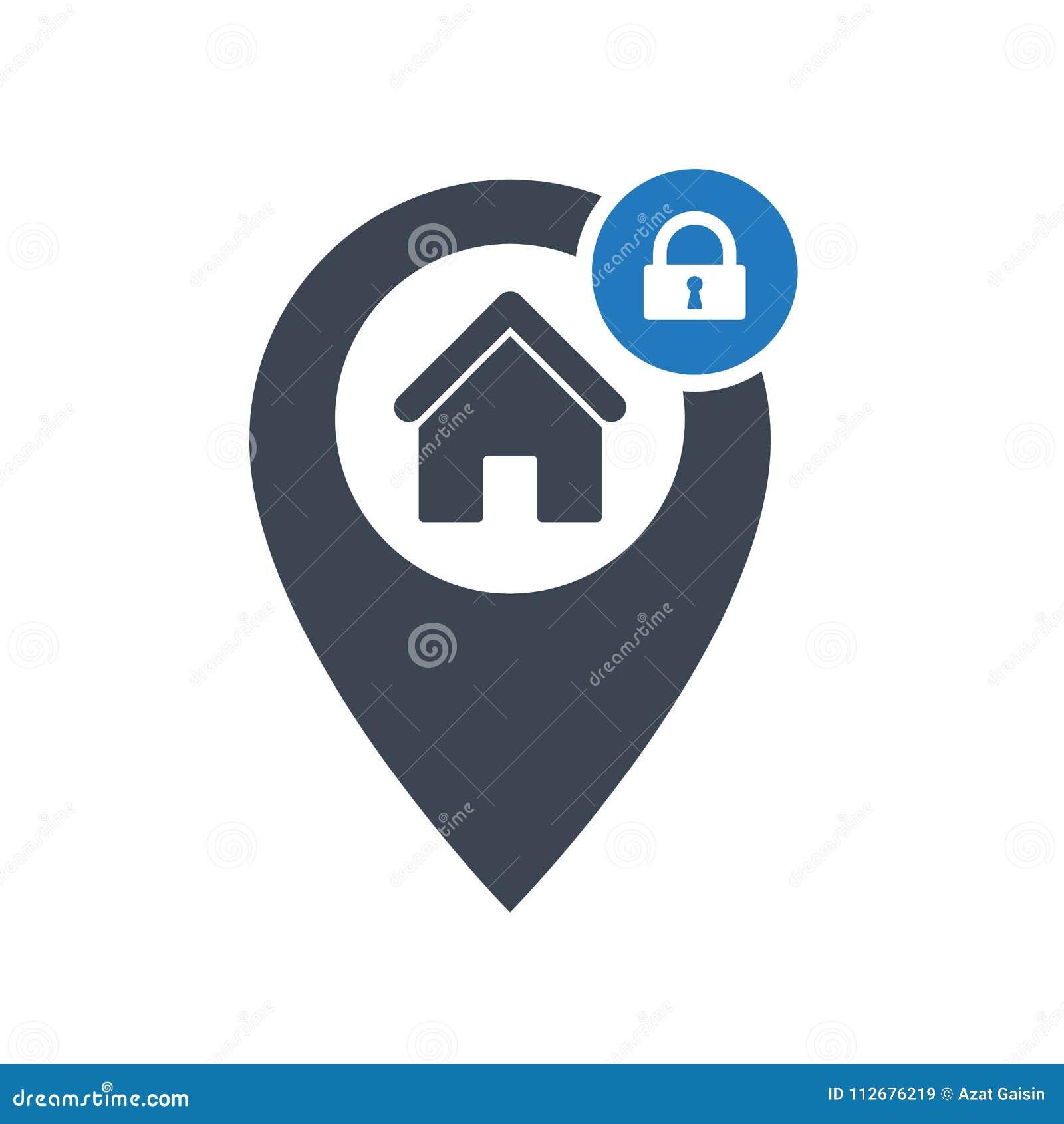 Ícone do endereço com sinal do cadeado Enderece o ícone e a segurança, proteção, símbolo da privacidade